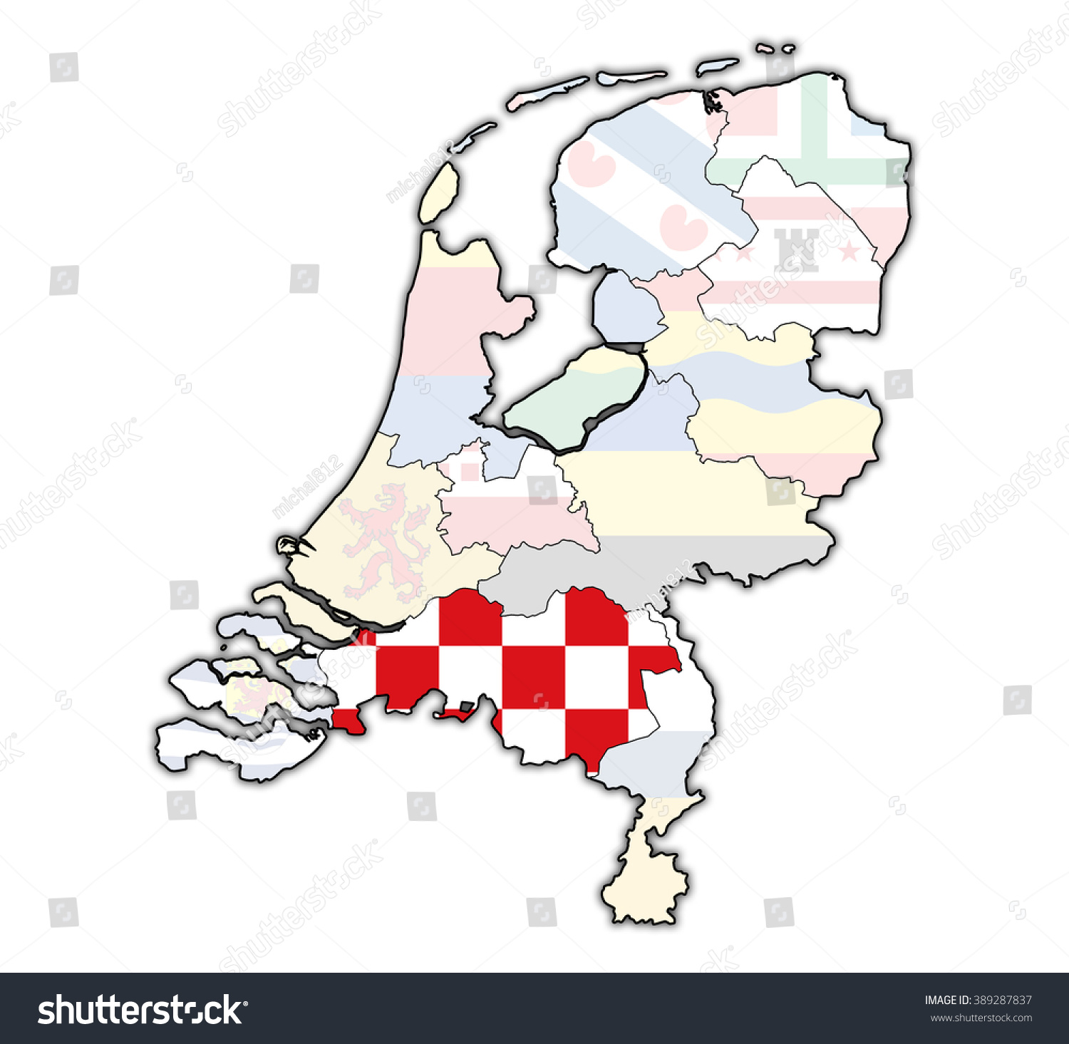 North Brabant Flag On Map Borders Stock Illustration 389287837