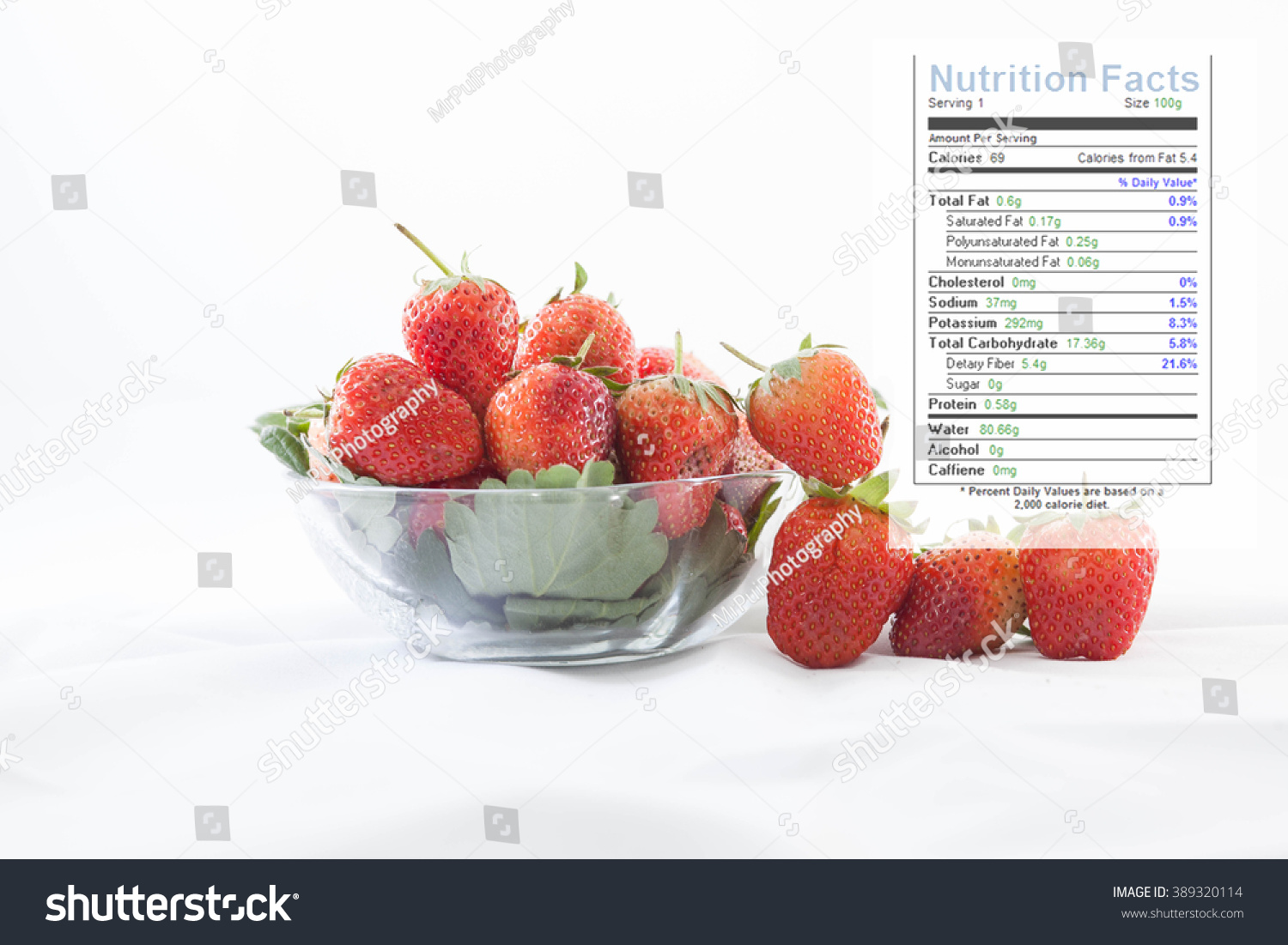 Strawberry Nutrition Facts Stock Photo Edit Now 389320114
