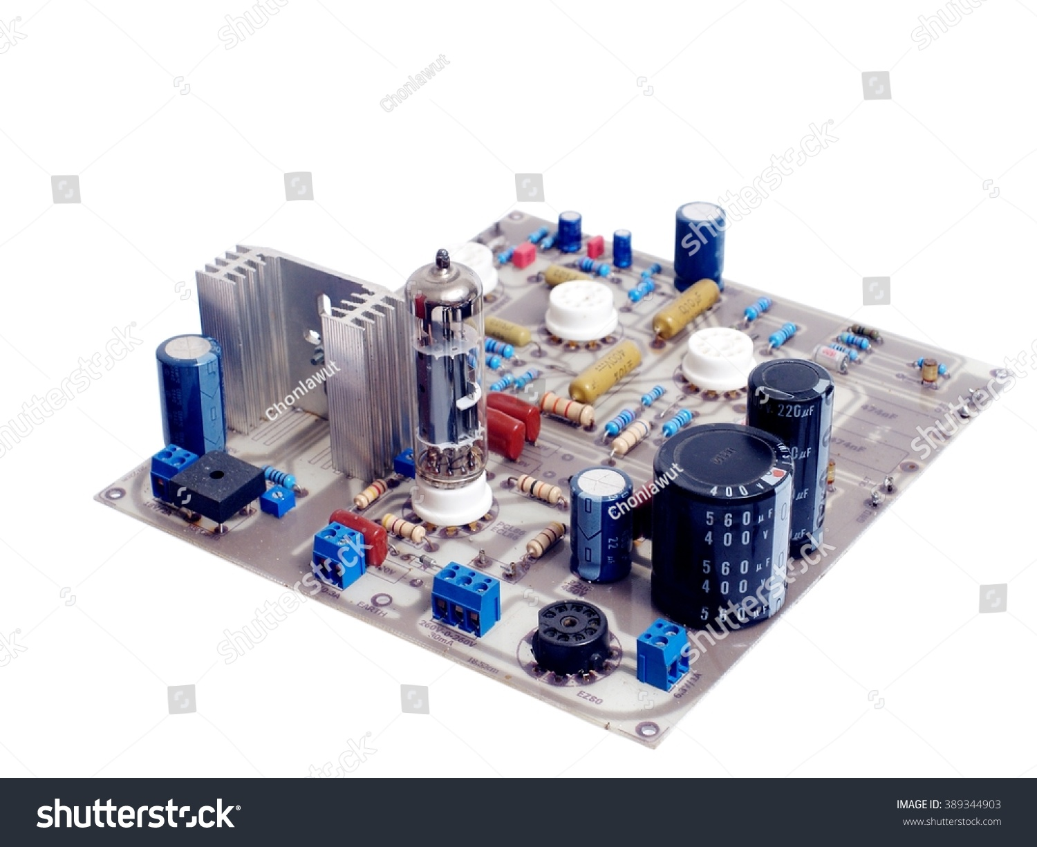 Royalty Free Old Retro Style Vacuum Tube Valve 389344903 Stock Engineer Repairing Circuit Board Photography Phonograph Pre Amplifier Epoxy With Incomplete Component And