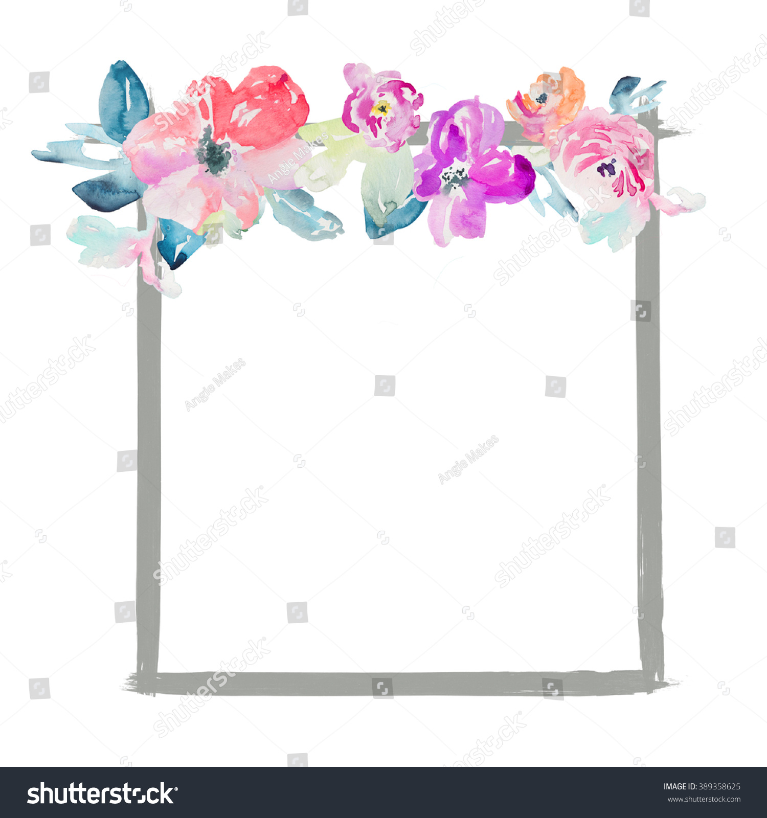 Cute Flower Square Watercolor Frame Stock Illustration 389358625 ...