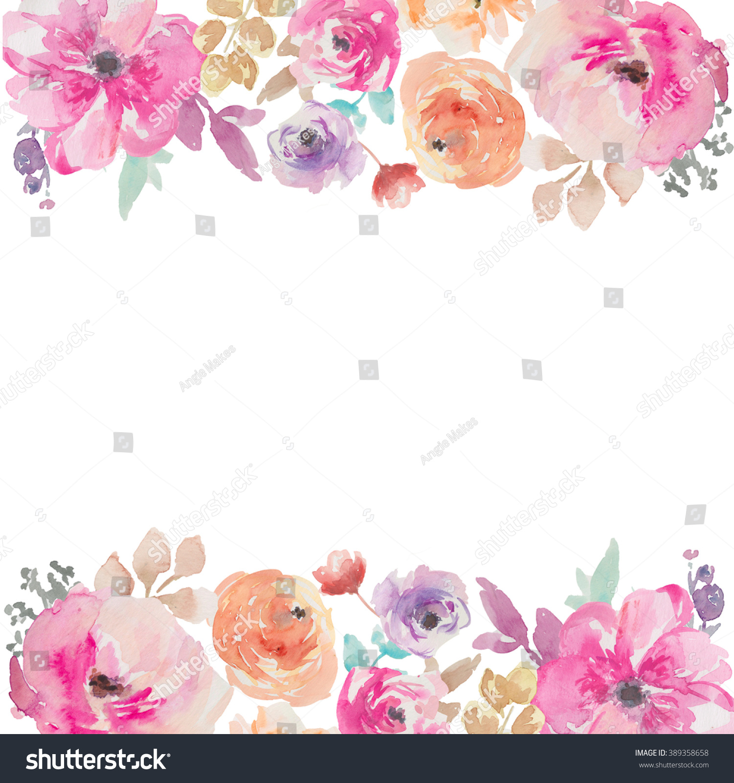 Colorful Watercolor Flower Border Painted Flower Stock ...