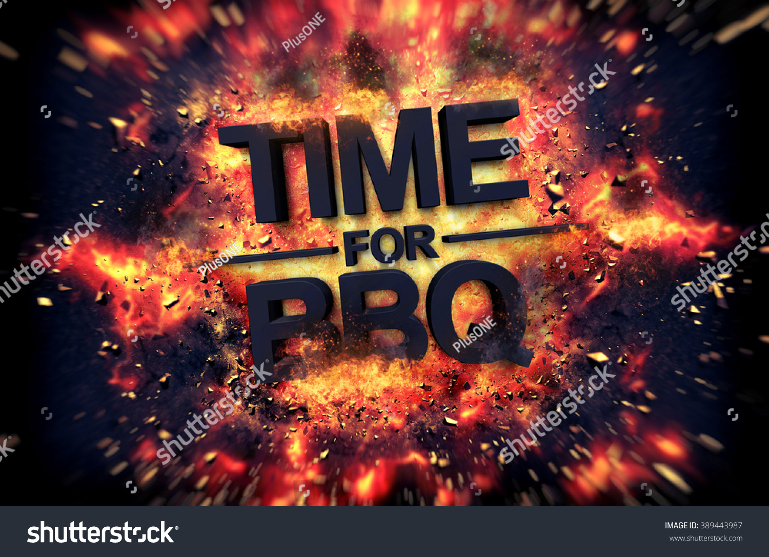 Time Bbq Fiery Poster Design Dramatic Stock Illustration