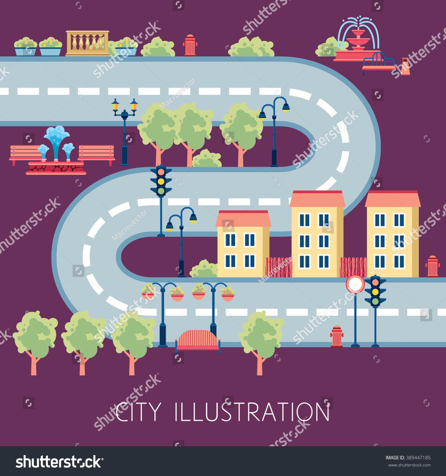 City Street Flat Design Schema Navigator Stock Photo (Photo, Vector ...