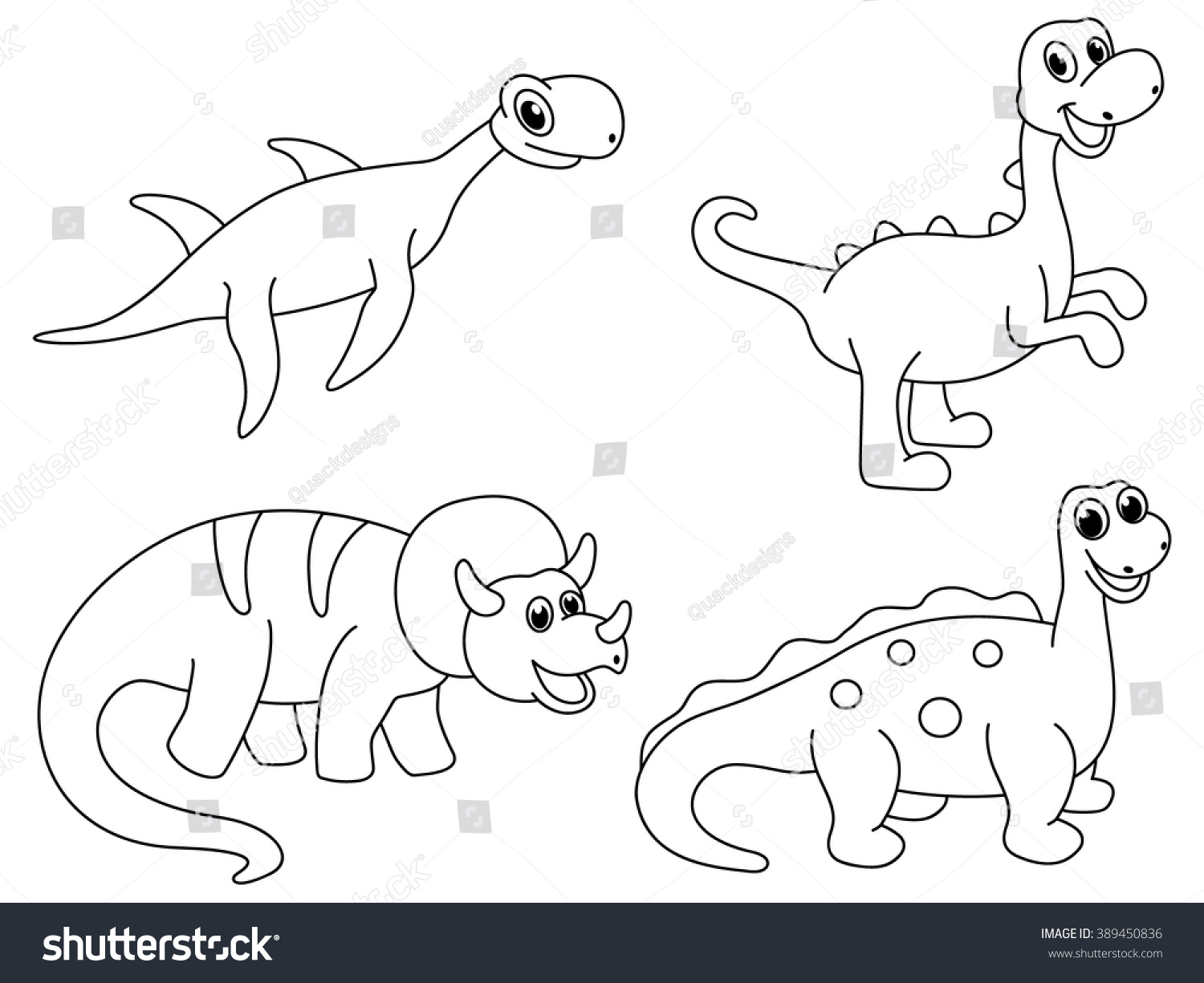 Set Dino Coloring Page Kids Funny Stock Vector Royalty Free