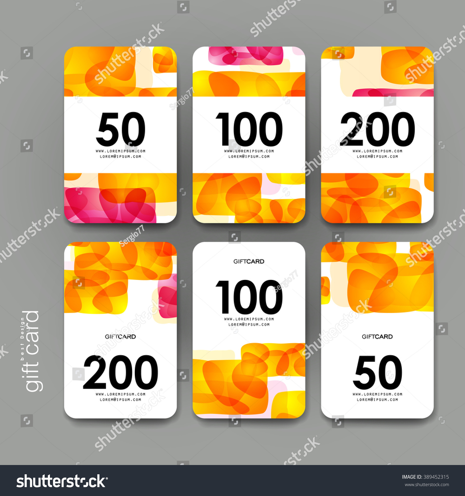 Gift Coupon Discount Card Template Abstract Stock Vector