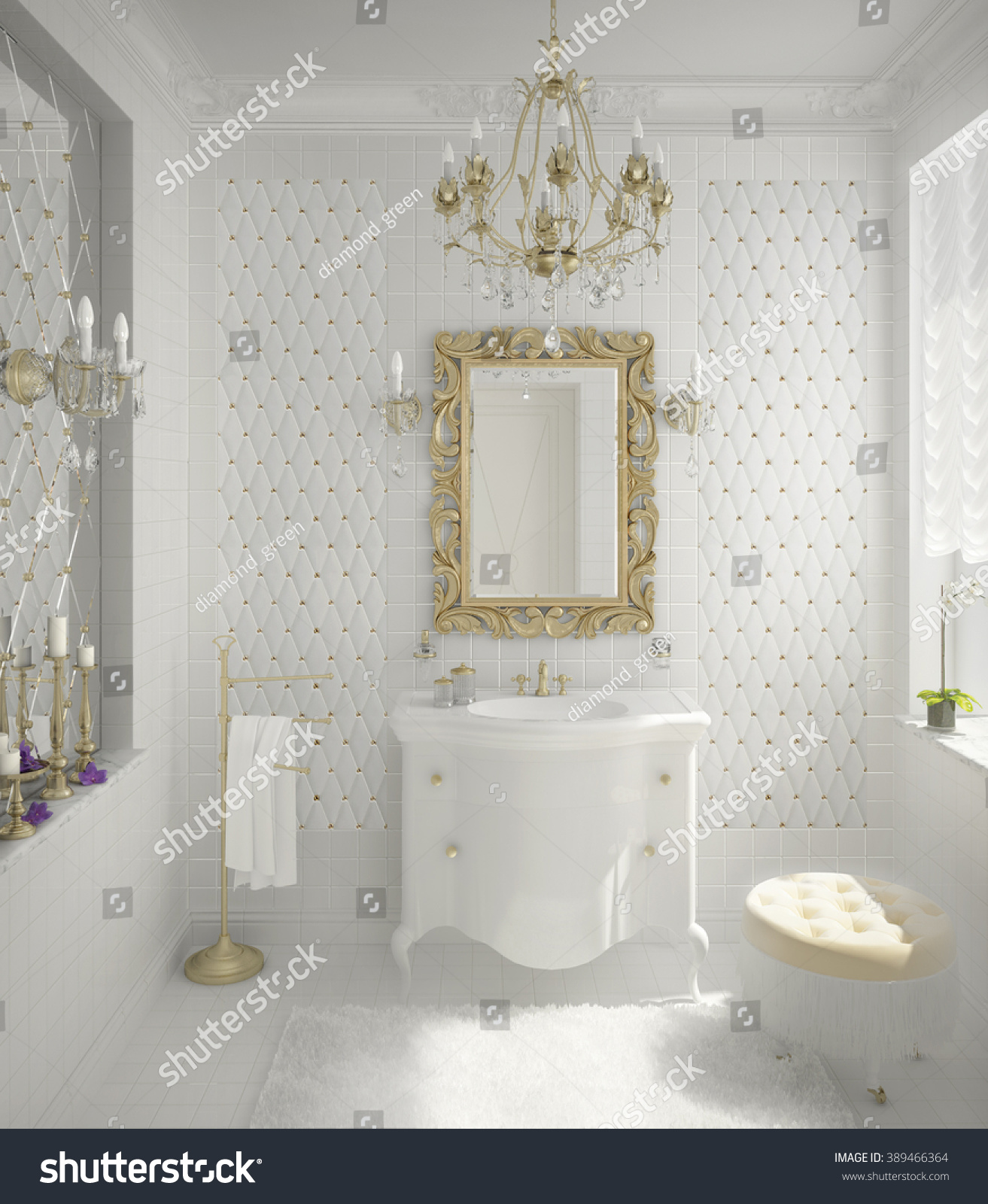 3 D Illustration Luxury Bathroom White Color Stock Illustration ...