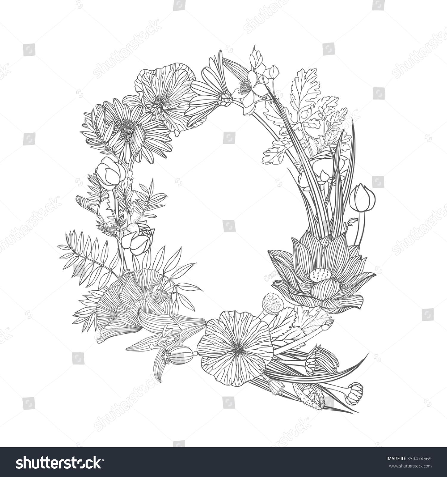 Linear Black On White Floral Alphabet Stock Vector 389474569