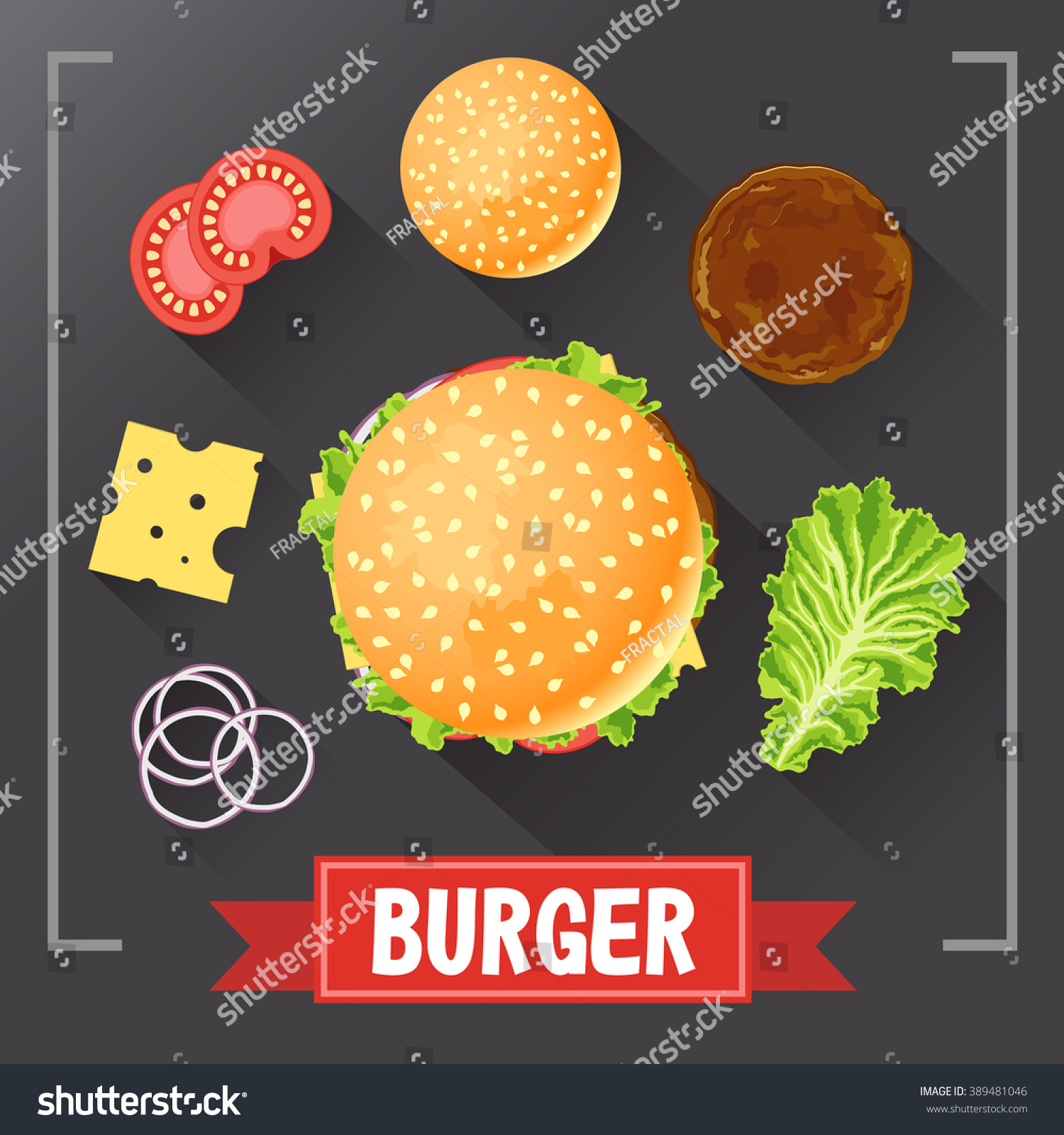 Burger ingredients Burger parts on chalkboard with signed ingredients Set food