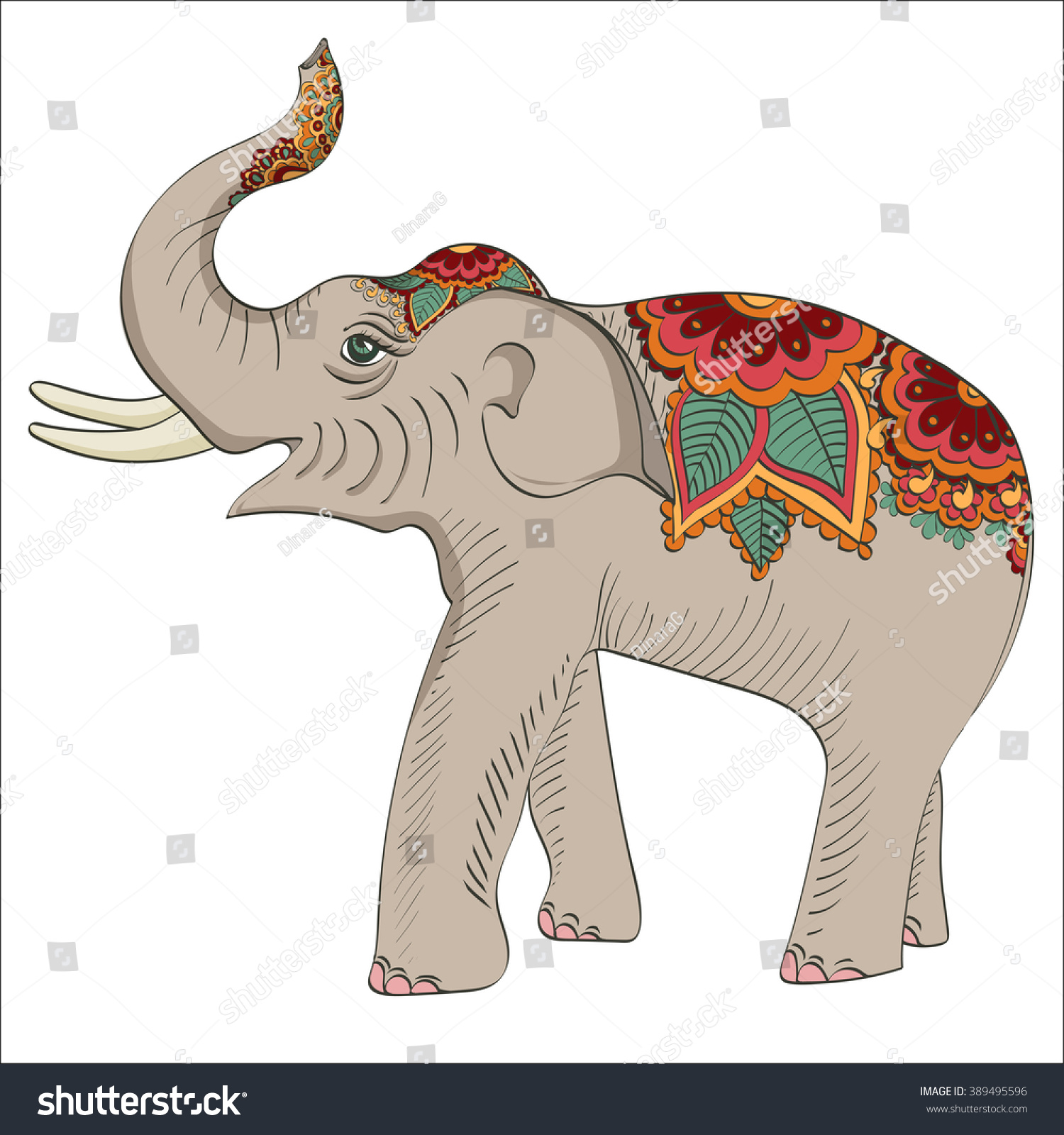 2956a3b3 Colored elephant with oriental floral ornament. Vector illustration. Paisley  doodle with flowers. Indian zentangle. Pattern for design invitation, card,  ...