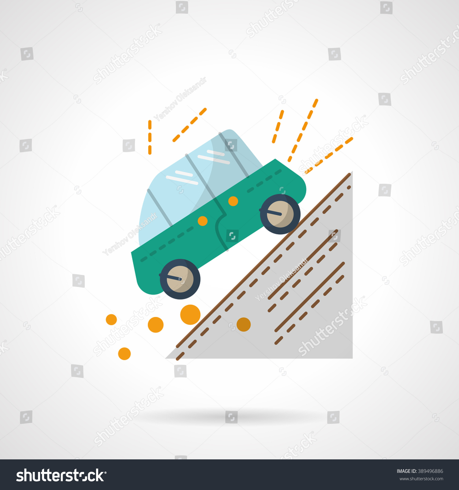 Green Car Moving Down Slope Accident Stock Vector (Royalty Free ...