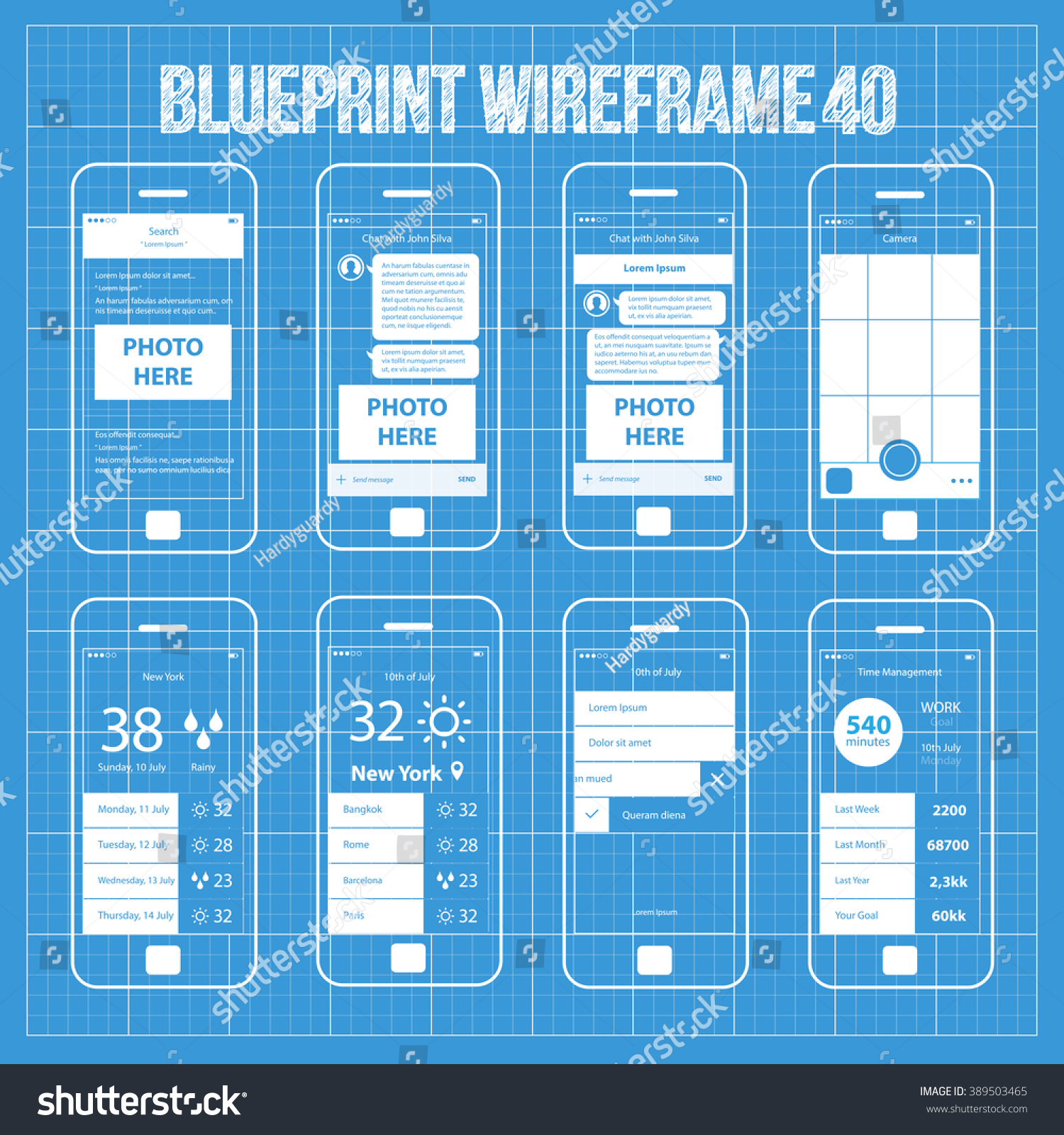 Royalty free mobile wireframe app ui kit 40 search 389503465 mobile wireframe app ui kit 40 search results screen chat with friend screen camera screen weather world cities screen day planner screen malvernweather Choice Image