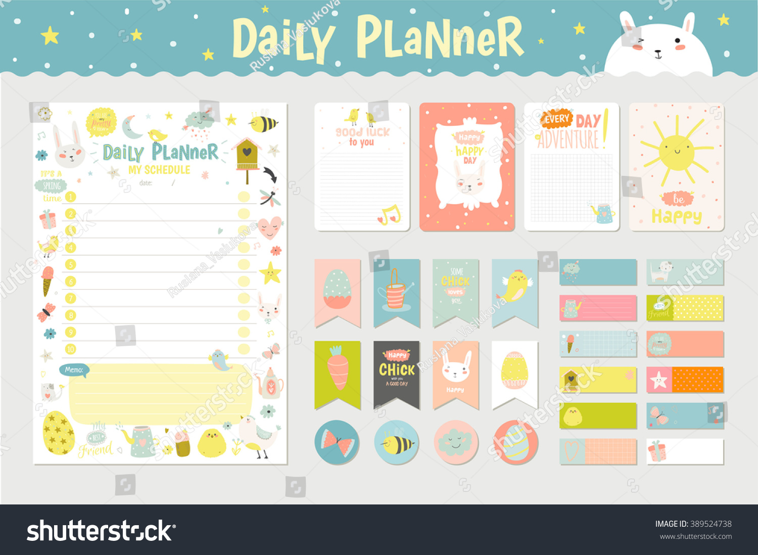 Cute calendar daily planner template 2016 stock vector for Weekly schedule template for kids