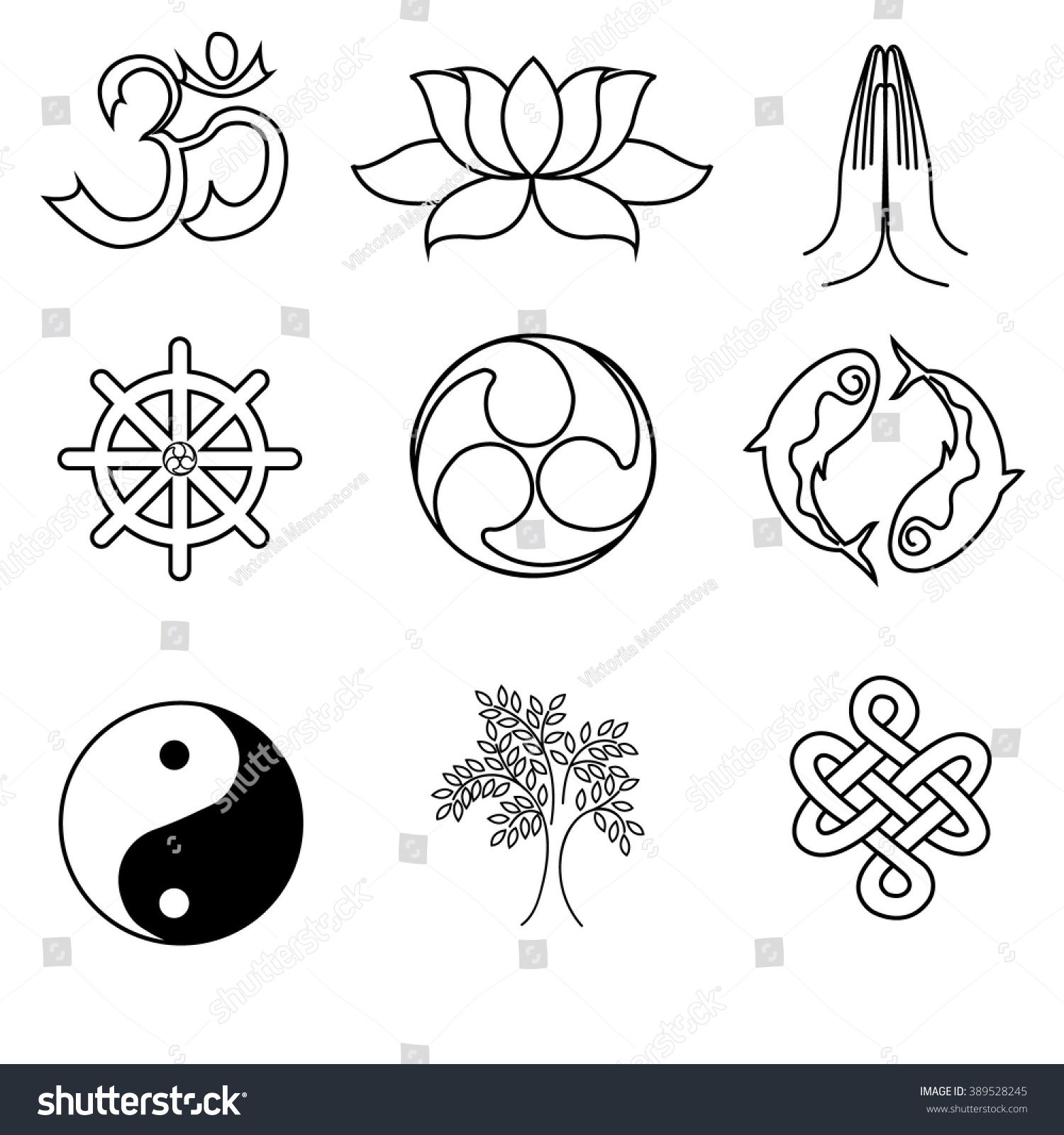 Set Religion Symbols Buddhism Black Silhouettes Stock Vector