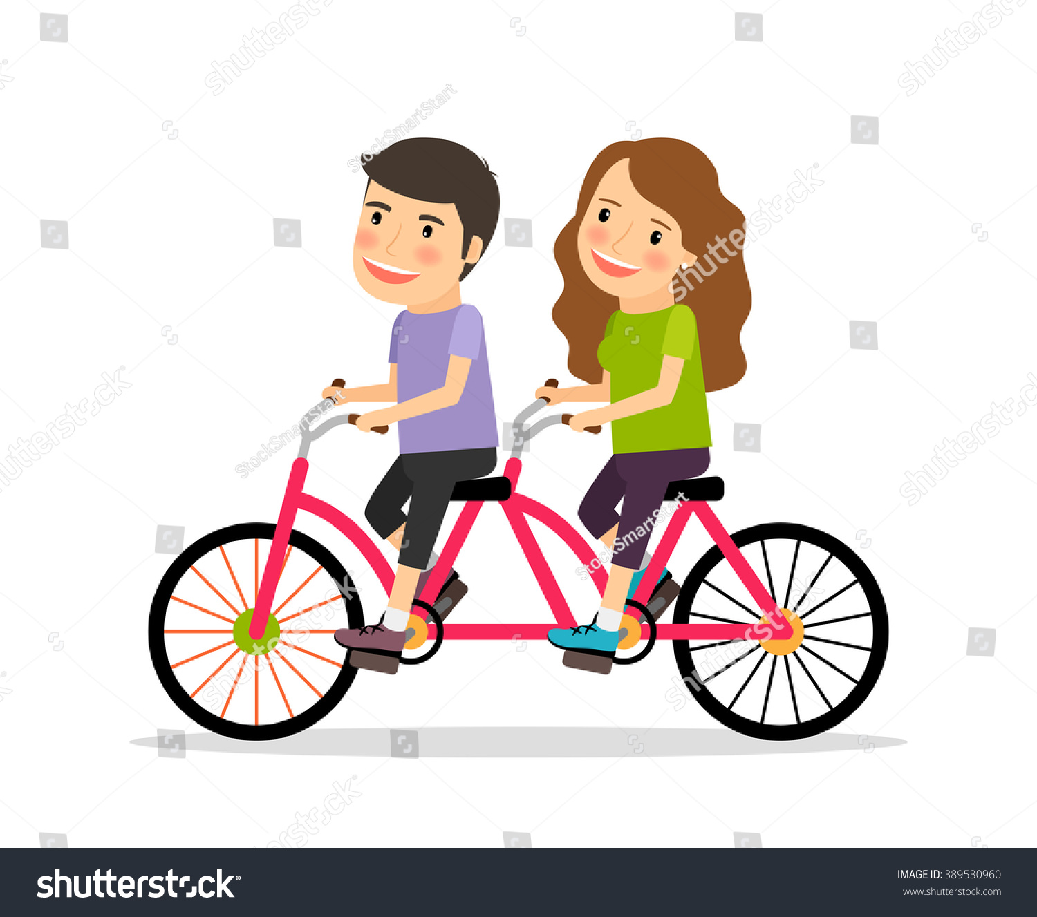 Couple Riding Tandem Bicycle Young People Stock Vector ...
