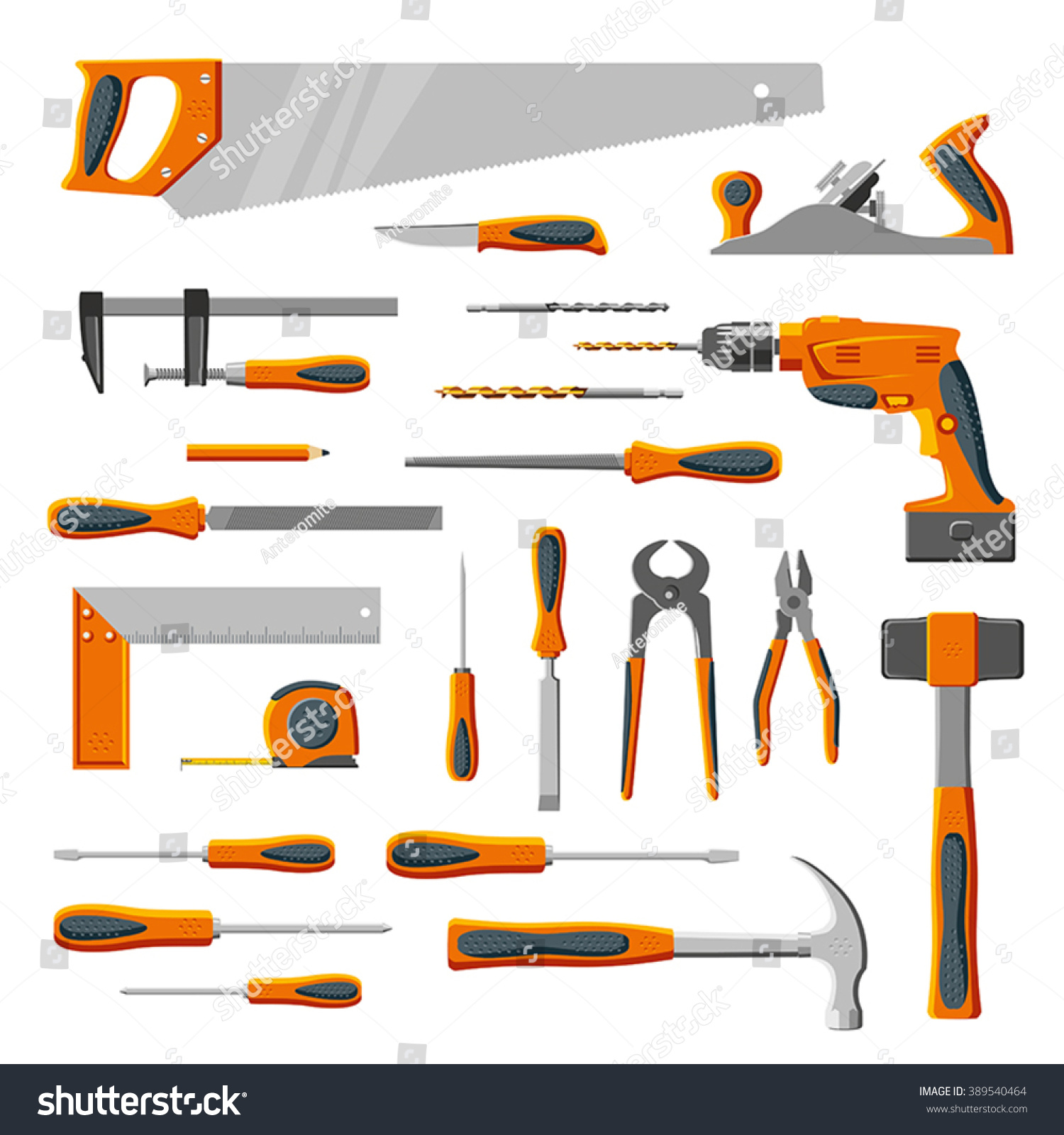 Modern Diy Carpenter Hand Tools Vector Stock Vector 389540464 ...