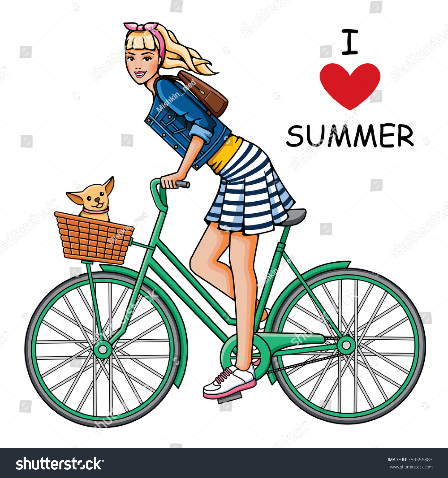 Young Beautiful Girl Rides Bicycle Fashion Stock-Vektorgrafik ...