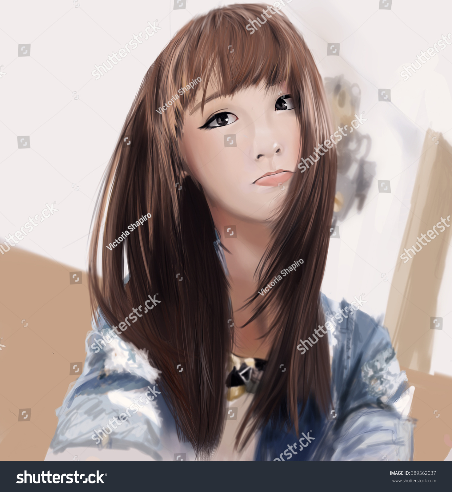 cute asian selfie digital drawing stock illustration 389562037