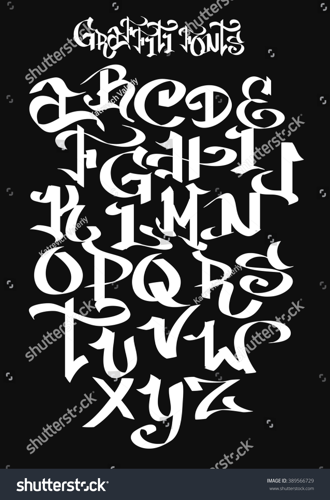 Graffiti Font Alphabet Vector Illustration 389566729