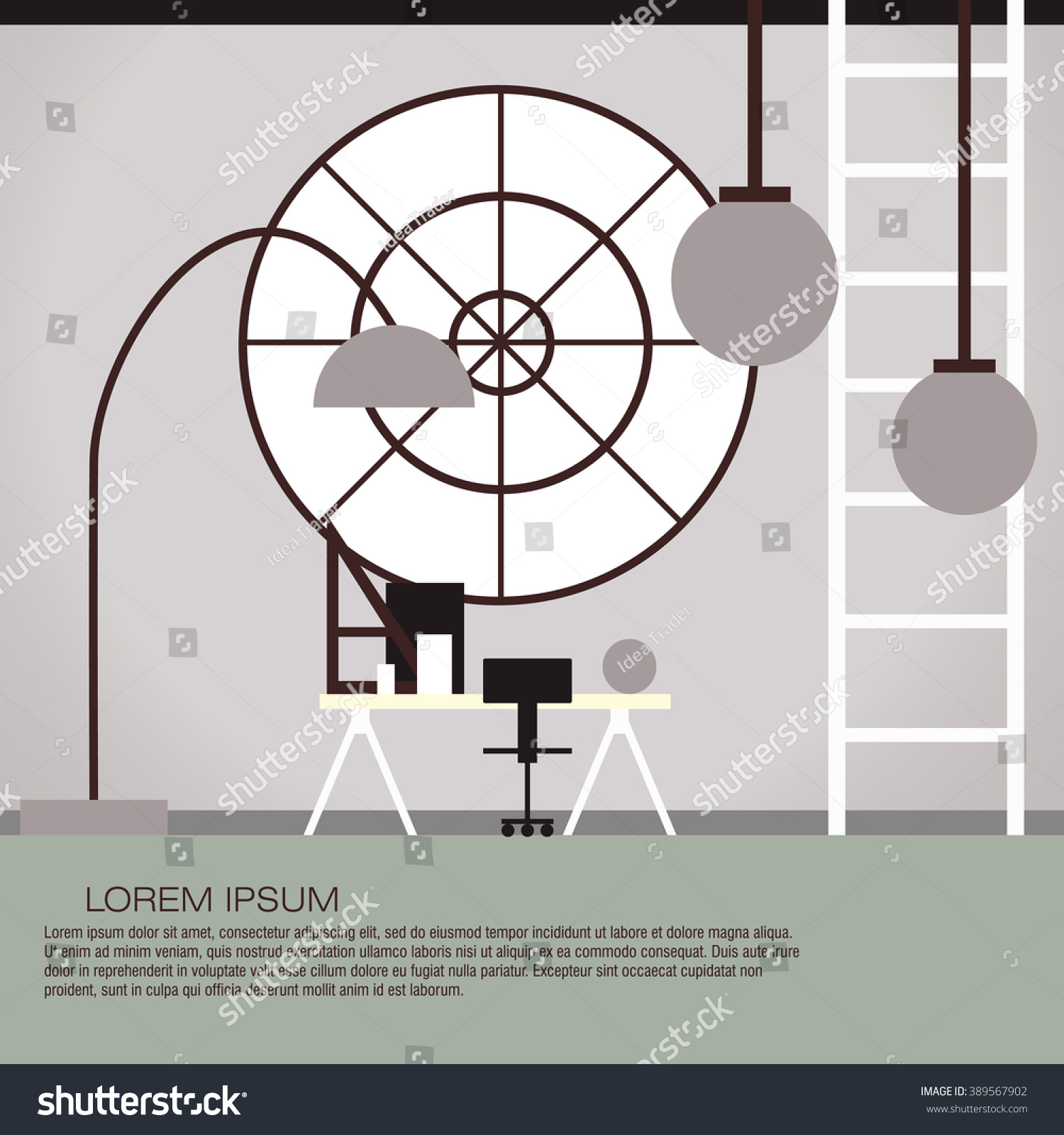 Vector illustration cabinet interior design colorful stock for Interior design banner images