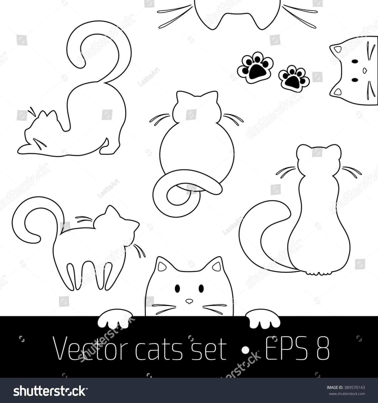 Vector Illustration Of Cats Set Cat Logo Concept Pet Shop