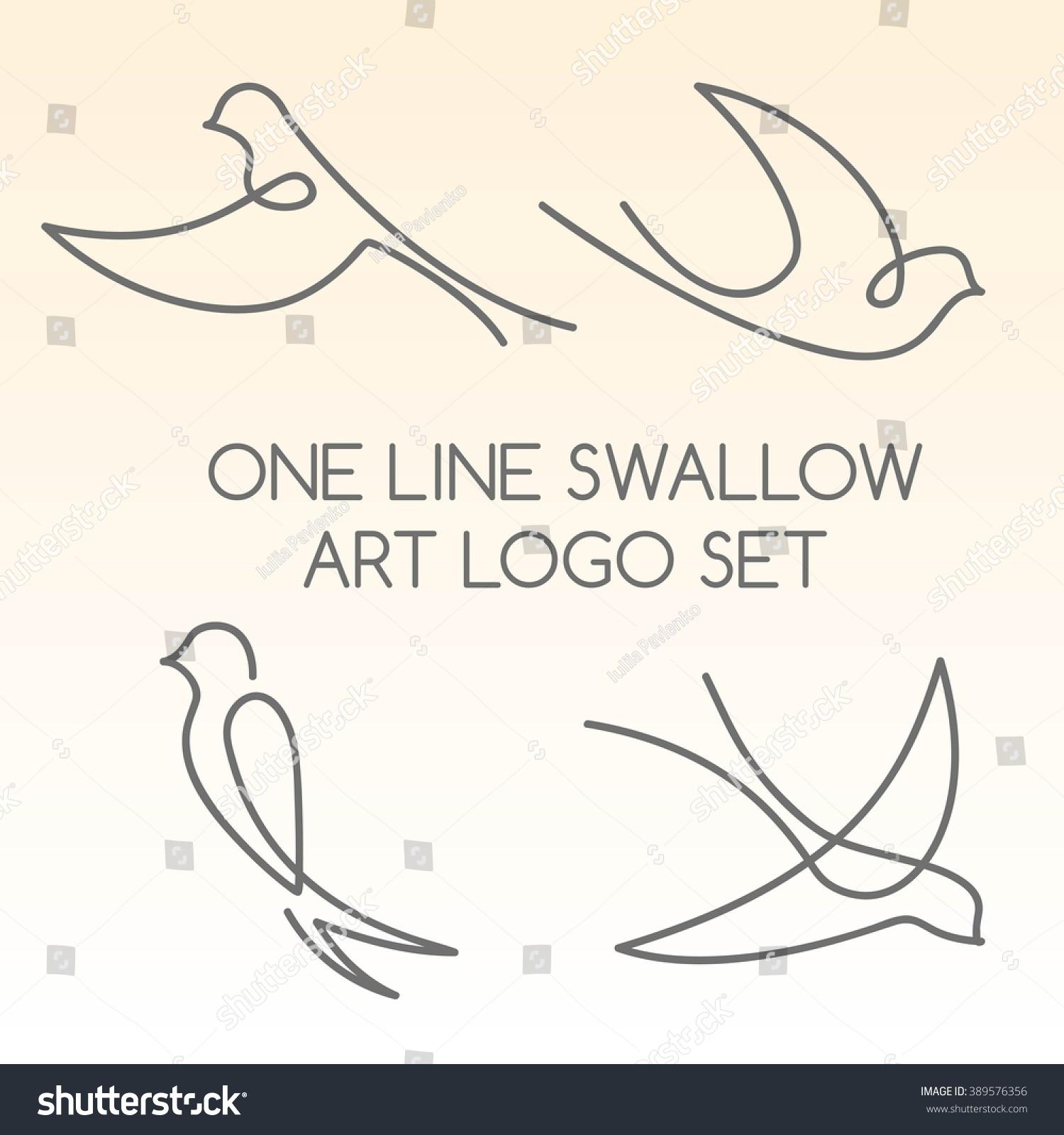 Single Line Vector Art : One line swallow art logo set stock vector illustration
