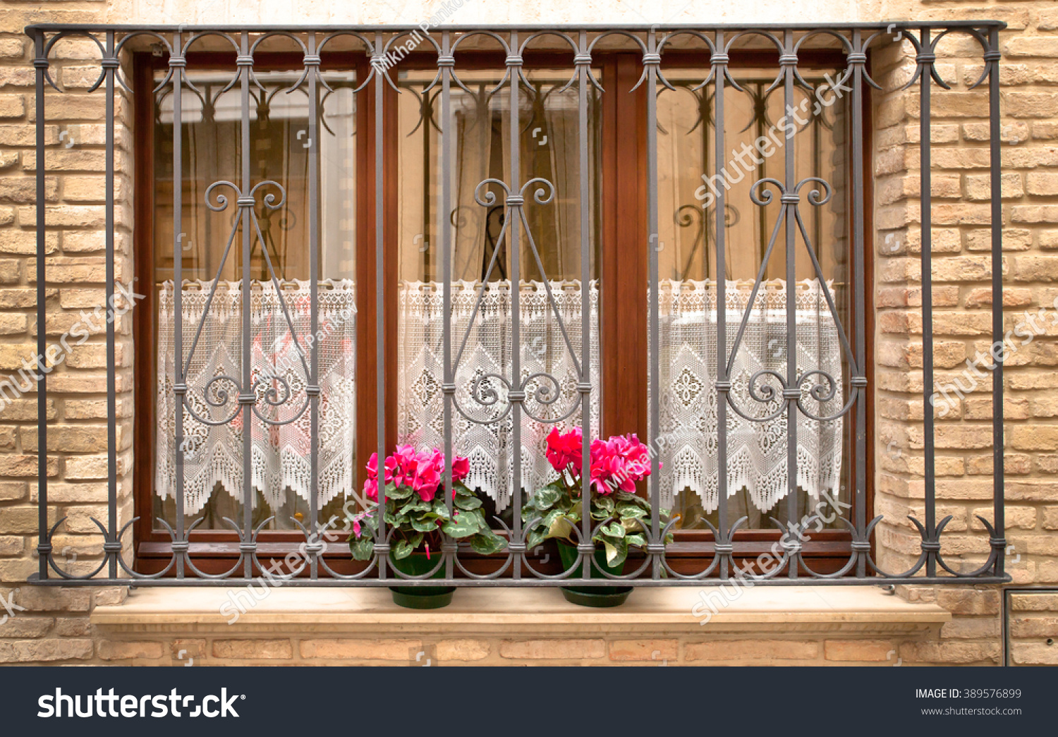 Grill Over Window Two Flowers Stock Photo 389576899