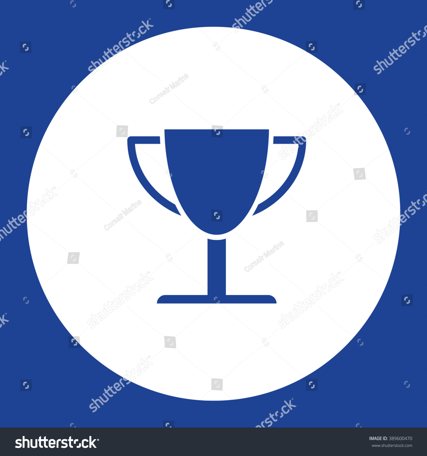 Trophy Cup Prize Vector Icon Blue Stock 389600470