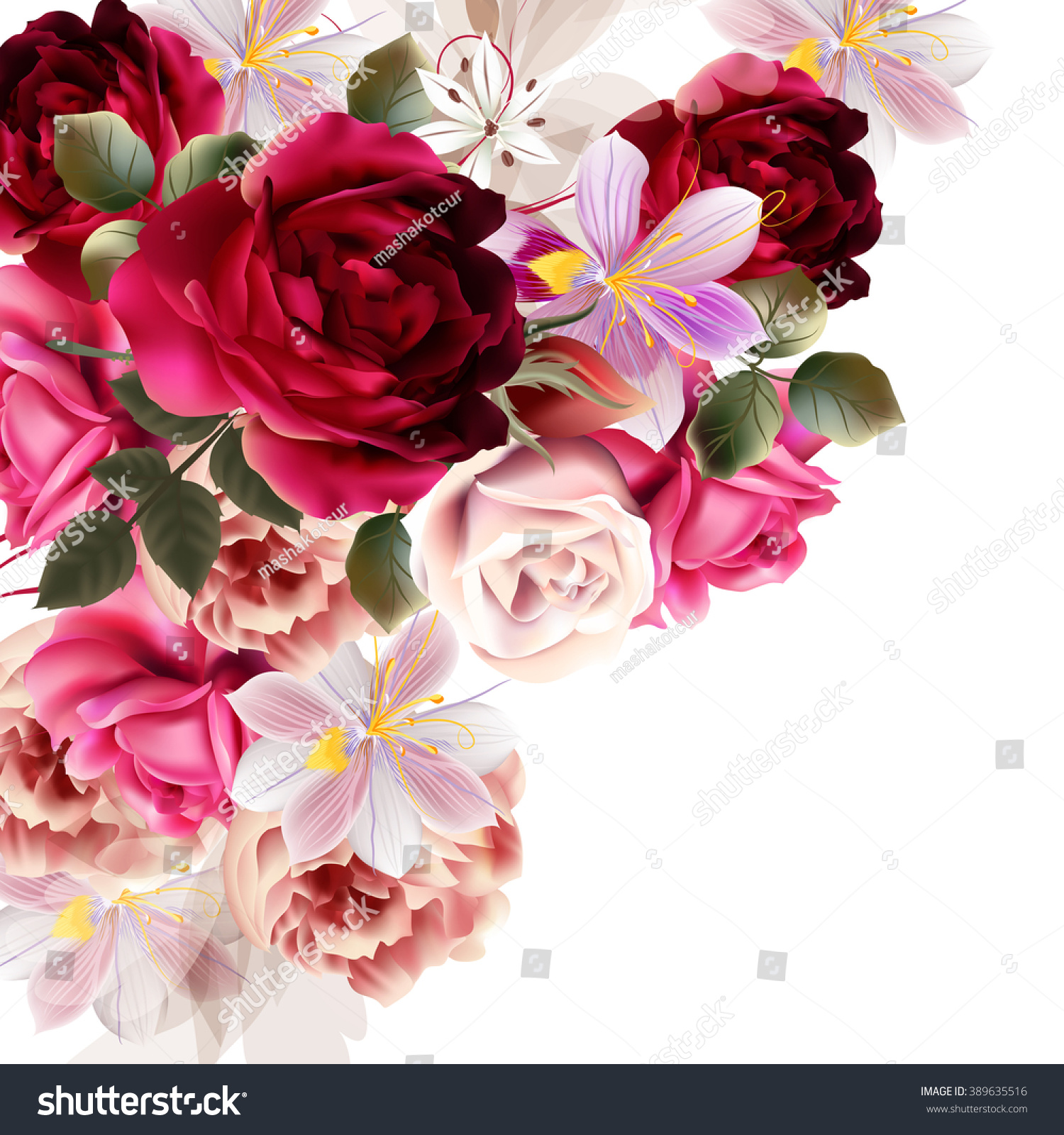 Beautiful Background Roses Hyacinth Flowers Vector Stock Vector ...