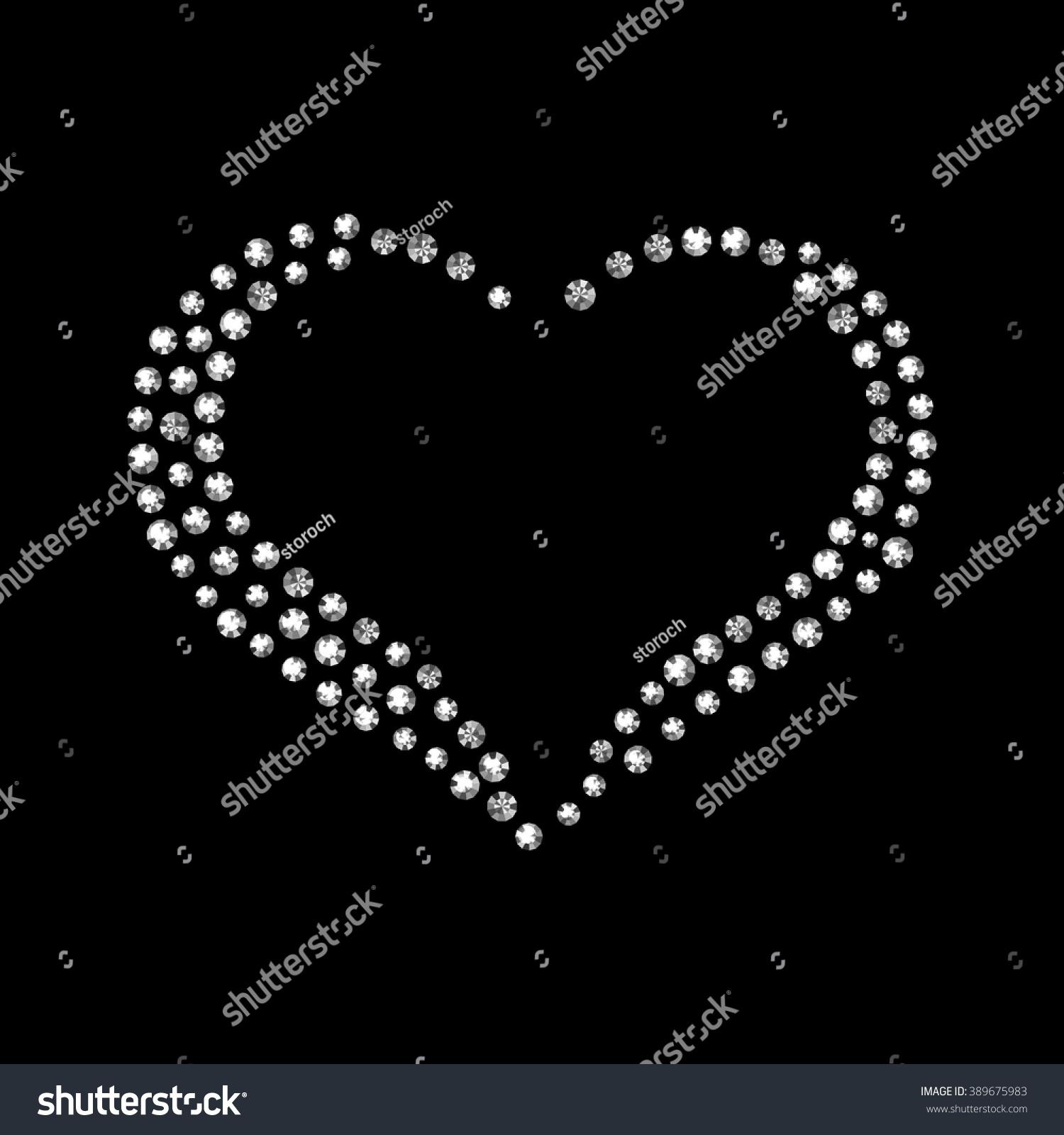 Vector Shiny Diamond Heart Black Stock Vector