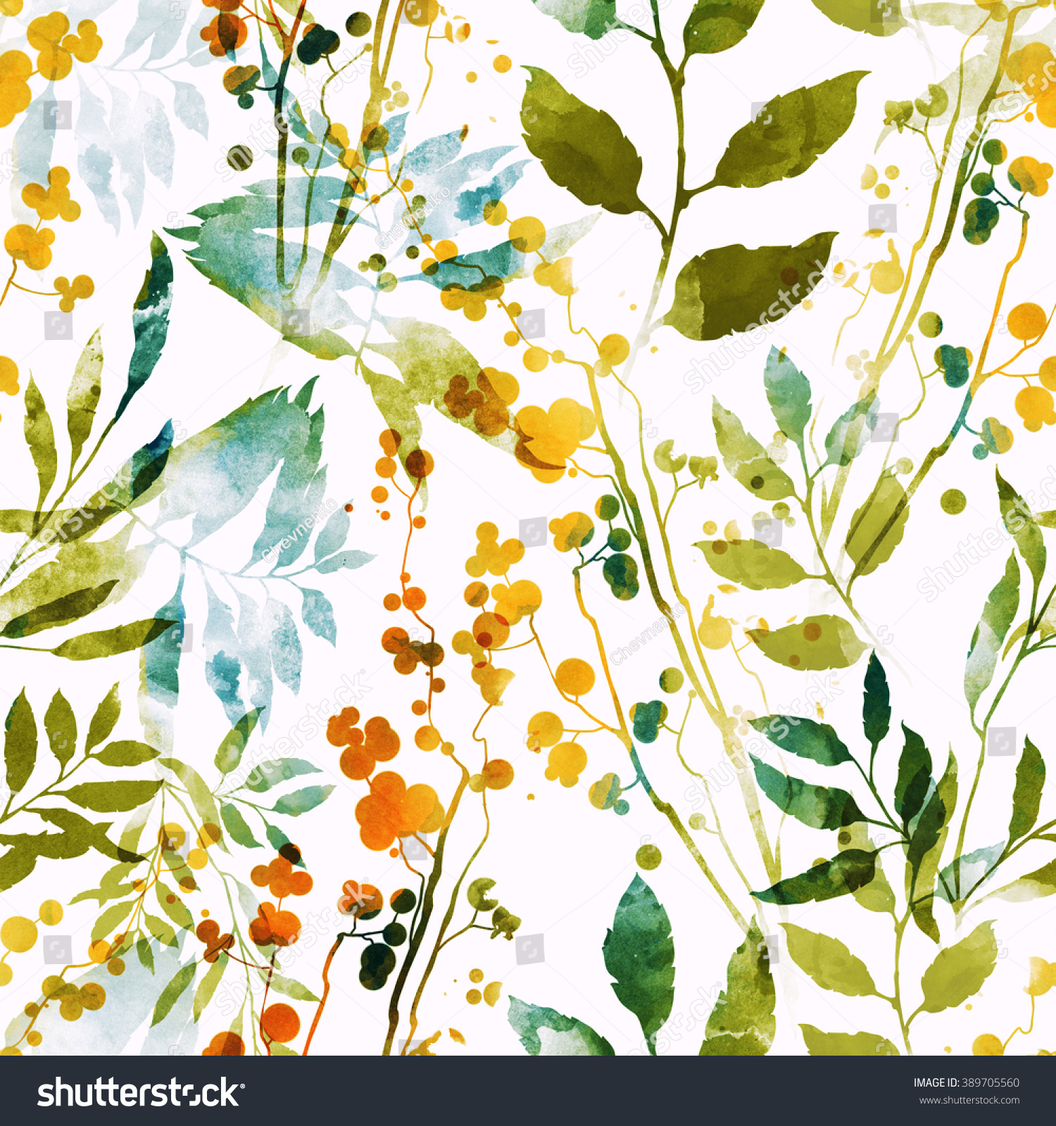 Stock Photo Imprints Herbs Flowers And Leaves Abstract Watercolor Digital Image Hand Drawn Boho Spring 389705560