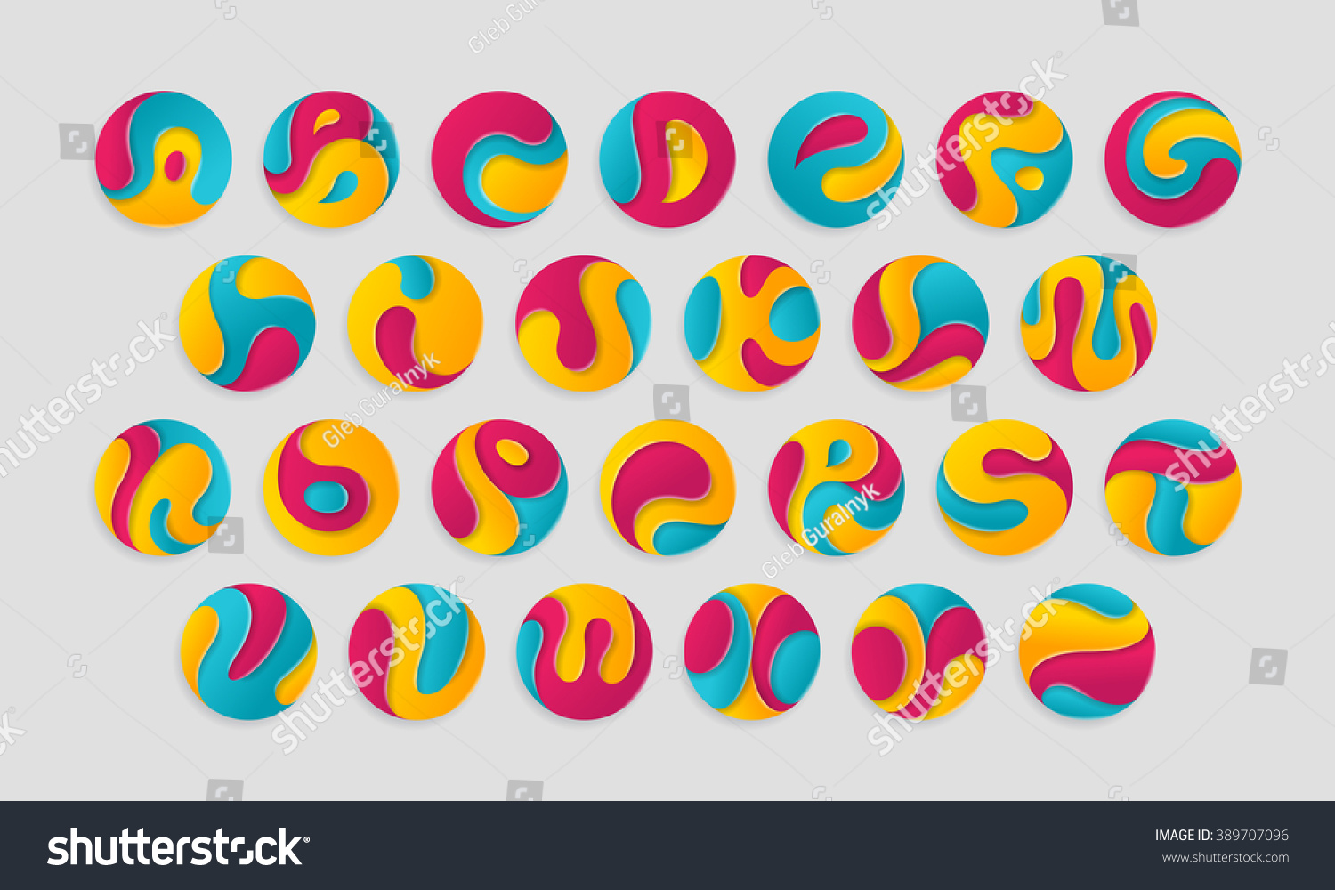 letters colorful logotypes in round shape stylish alphabet circle signs font on light background