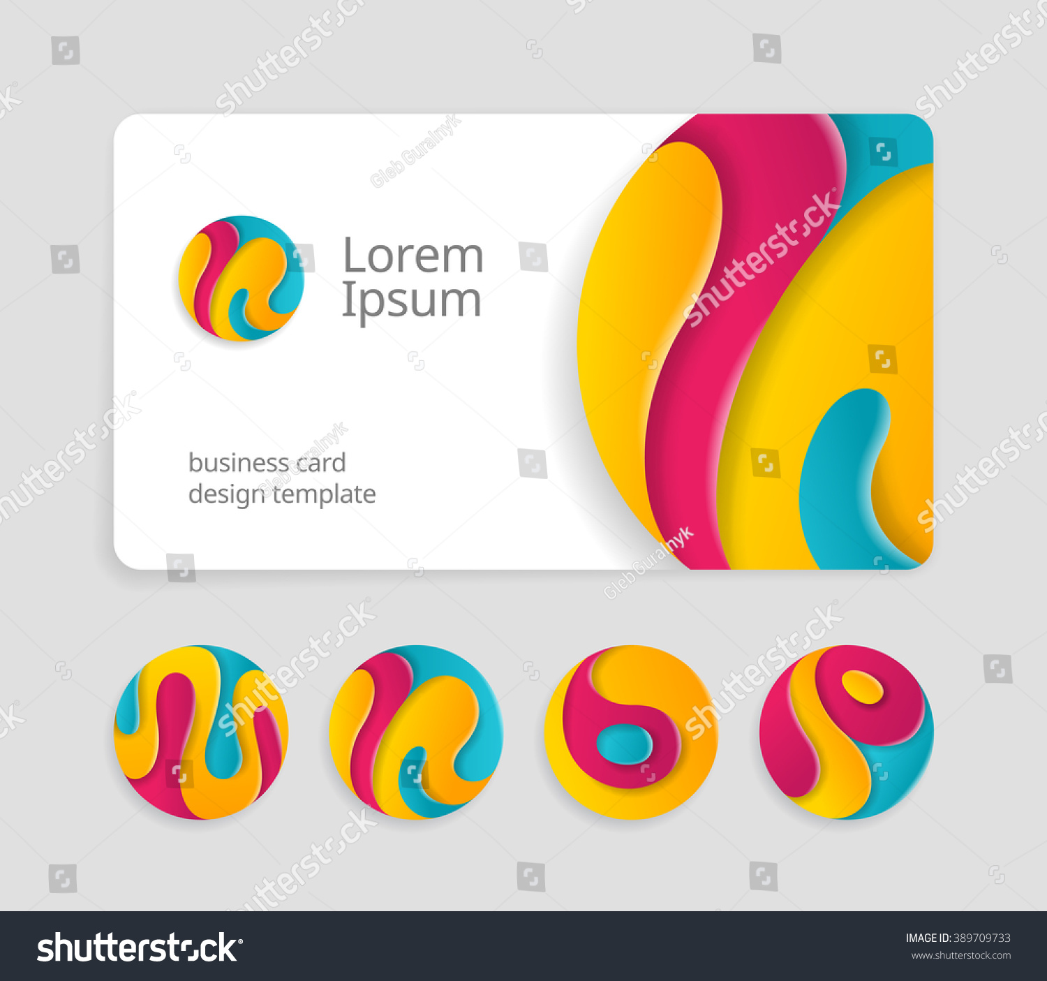 Business card template round abstract letters stock vector business card template with round abstract letters logotype trendy color logo design magicingreecefo Image collections