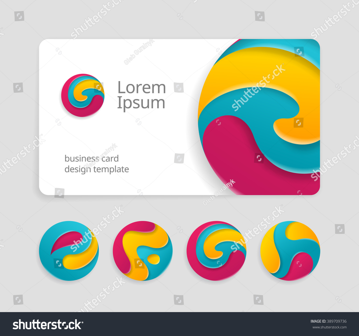Business card template round abstract letters stock vector 389709736 business card template with round abstract letters logotype trendy color logo design friedricerecipe Choice Image