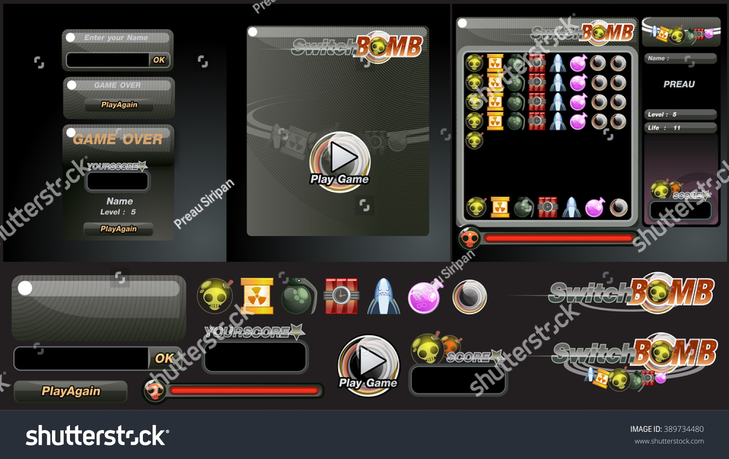 User Interface Switch Bomb Game Vector Stock Royalty Free For