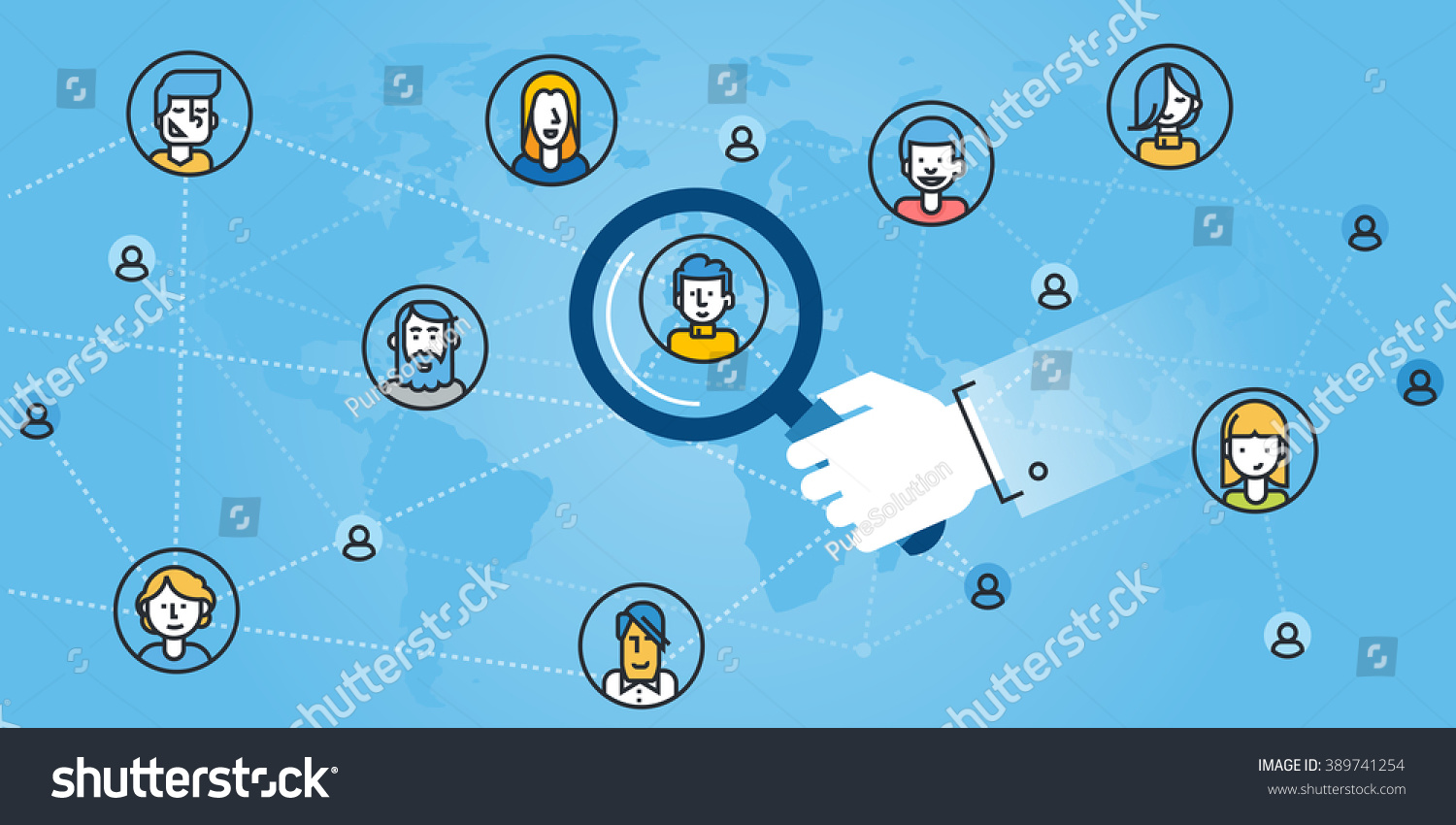 flat line design website banner networking stock vector  flat line design website banner of networking the right person searching people for
