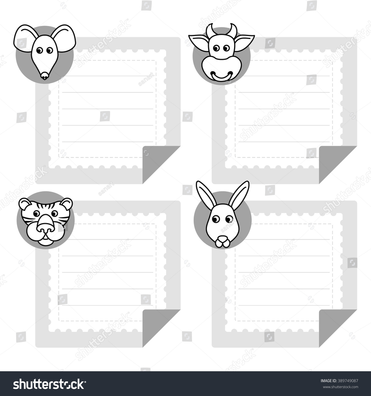 Calendar Template Eastern Horoscope Note Papers Vector – Zodiac Calendar Template