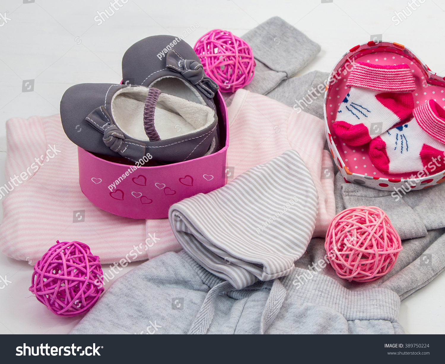 Set Baby Clothes Baby Girl Pink Stock Photo (Royalty Free) 389750224 ...