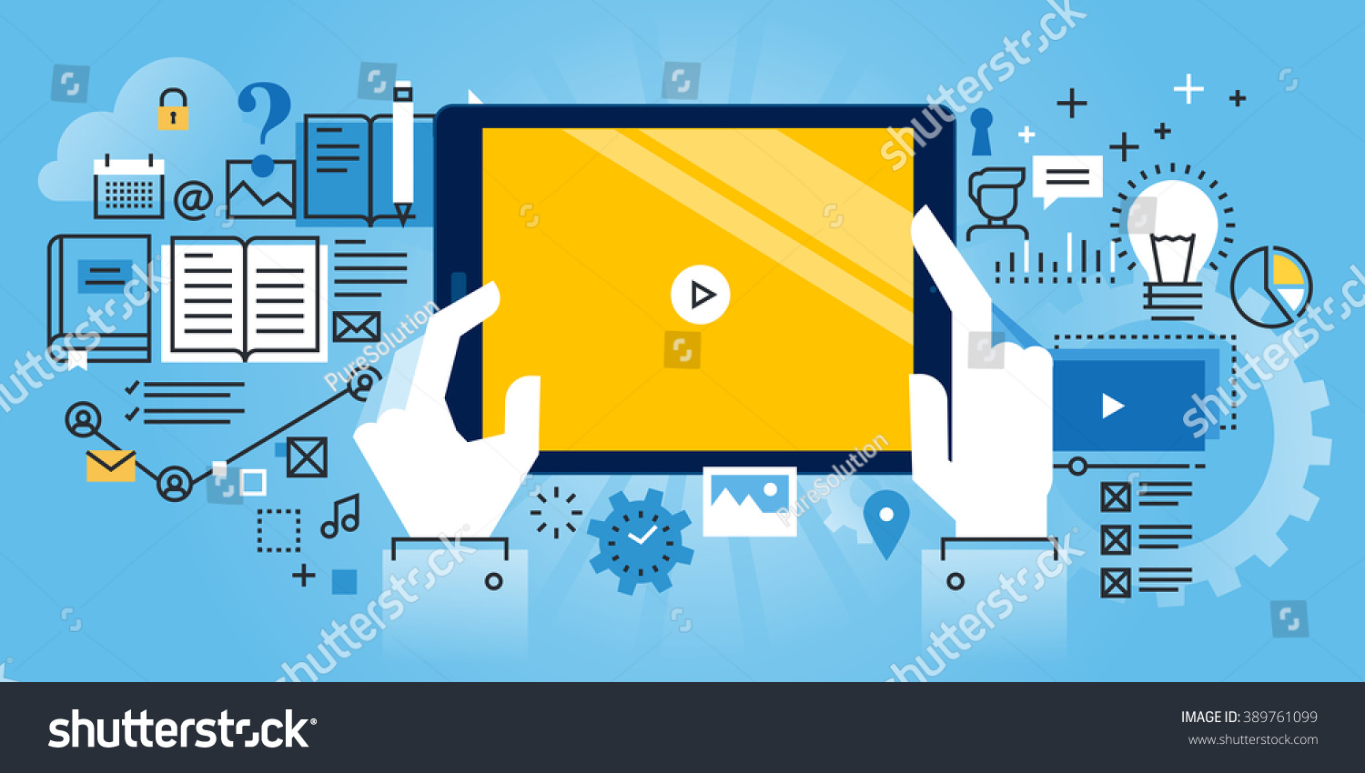 Flat Line Design Website Banner Online Stock Vector Royalty Free Engineering Tutorials Oneline Diagrams Of Education Video Training And Courses