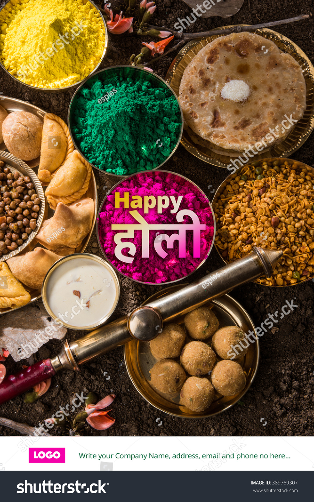 Happy holi greeting card designed showing stock photo royalty free happy holi greeting card designed showing indian traditional sweet and salty food flowers and powder forumfinder Gallery