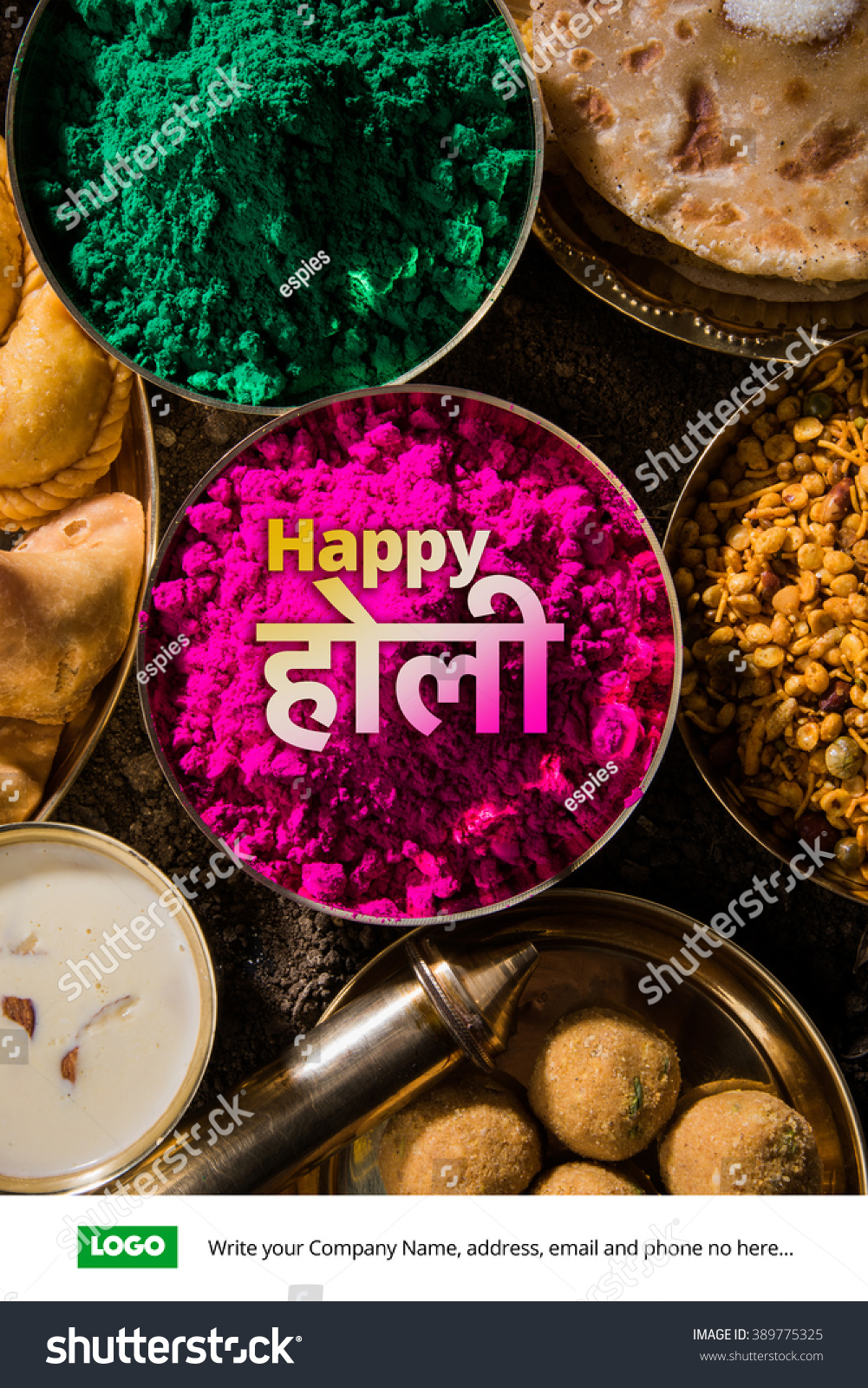 Happy holi greeting card designed showing stock photo royalty free happy holi greeting card designed showing indian traditional sweet and salty food flowers and powder forumfinder Images