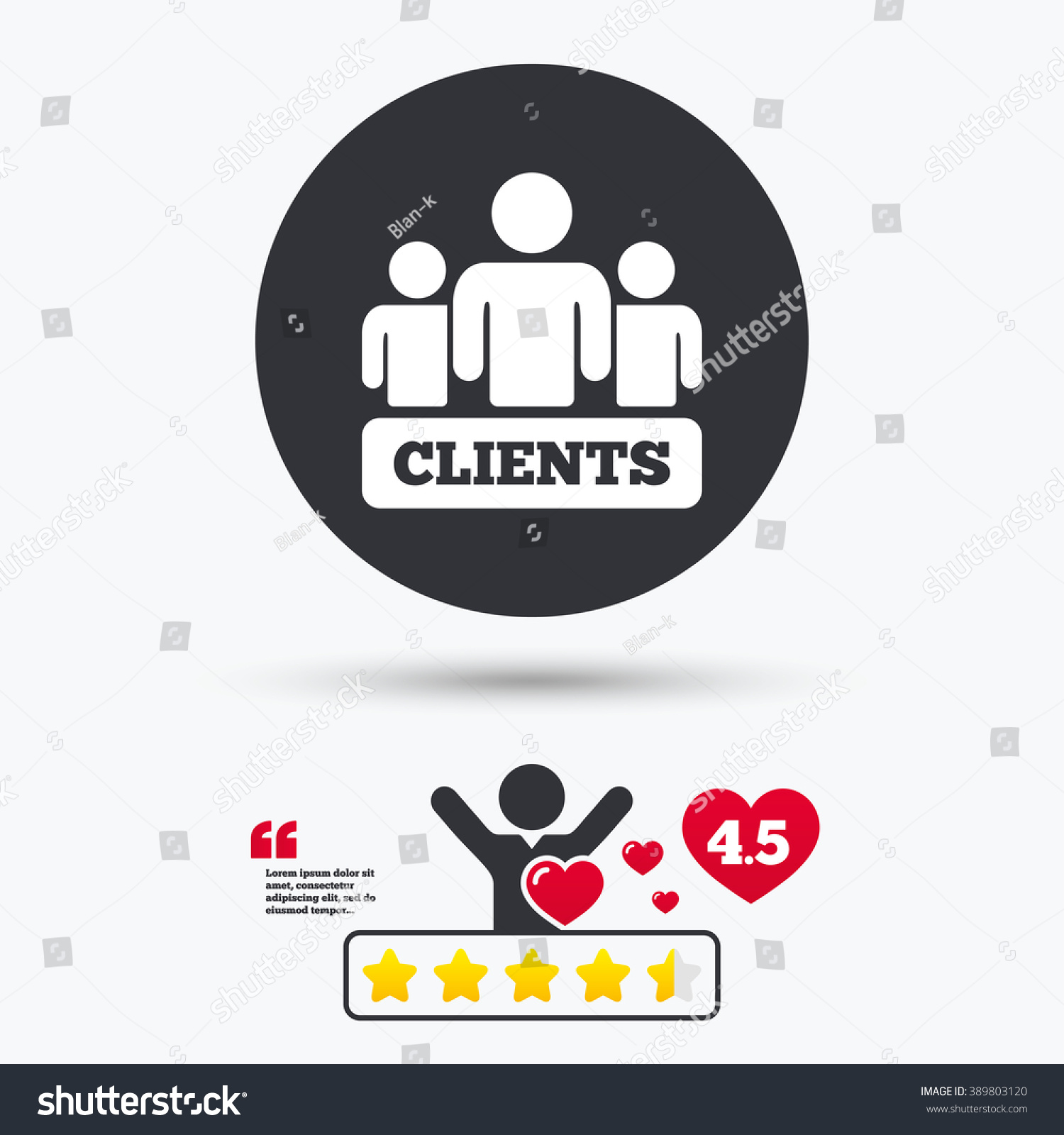 Clients Icon Group People Symbol Star Stock Vector 389803120