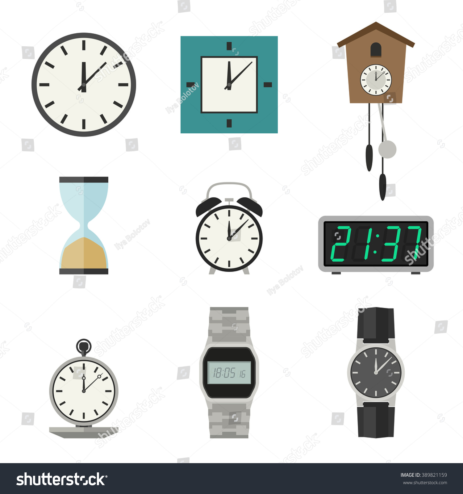 Clock Watches Vector Icons Set Different Stock Vector