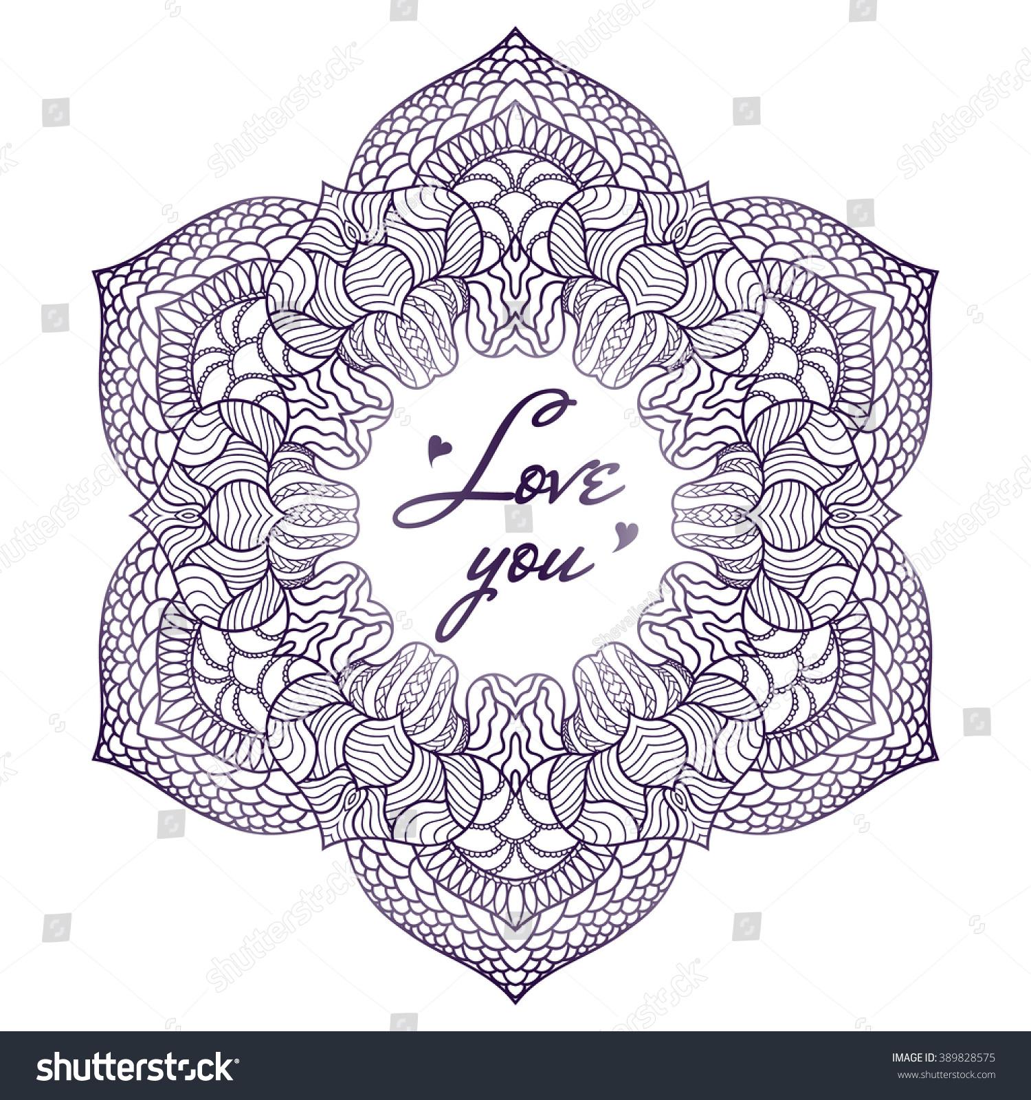 Download Vector Mandala Love You Inscription Hand Stock Vector 389828575 - Shutterstock