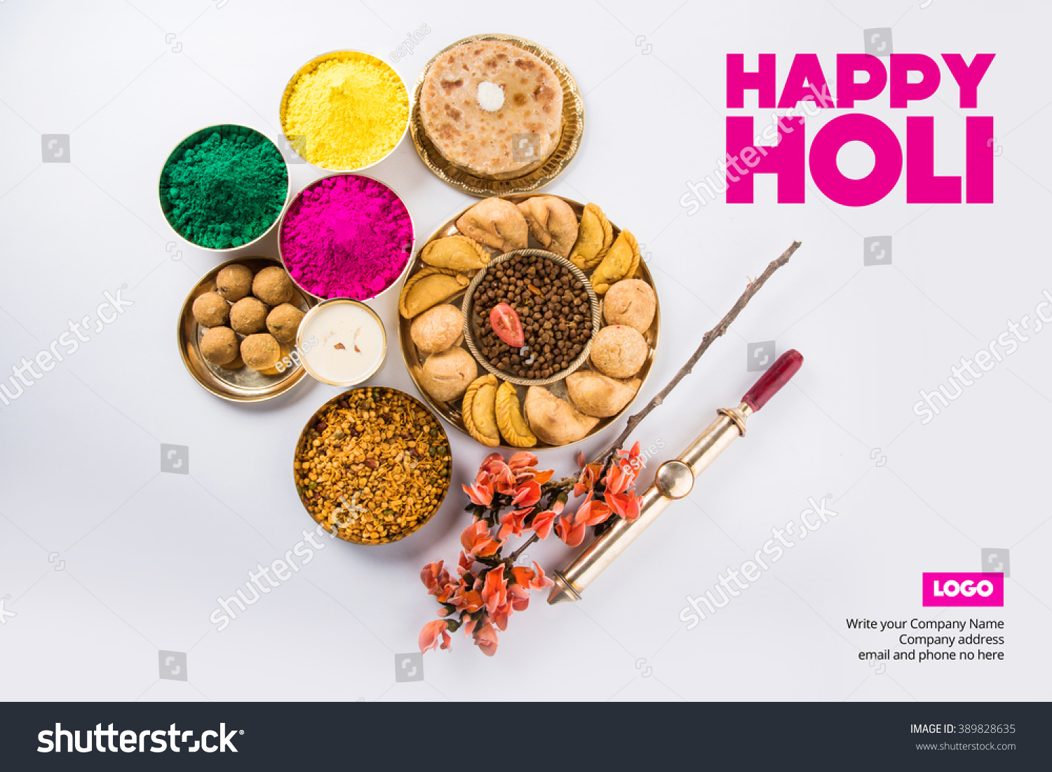 Happy Holi Greeting Card Designed Showing Stock Photo Edit Now
