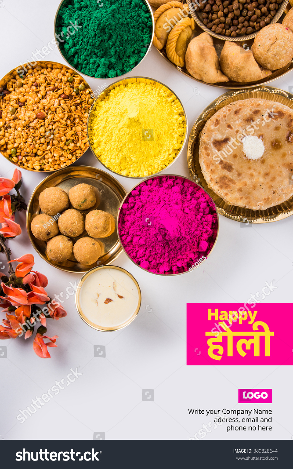 Royalty free happy holi greeting card designed 389828644 stock happy holi greeting card designed showing indian traditional sweet and salty food flowers and powder forumfinder Gallery