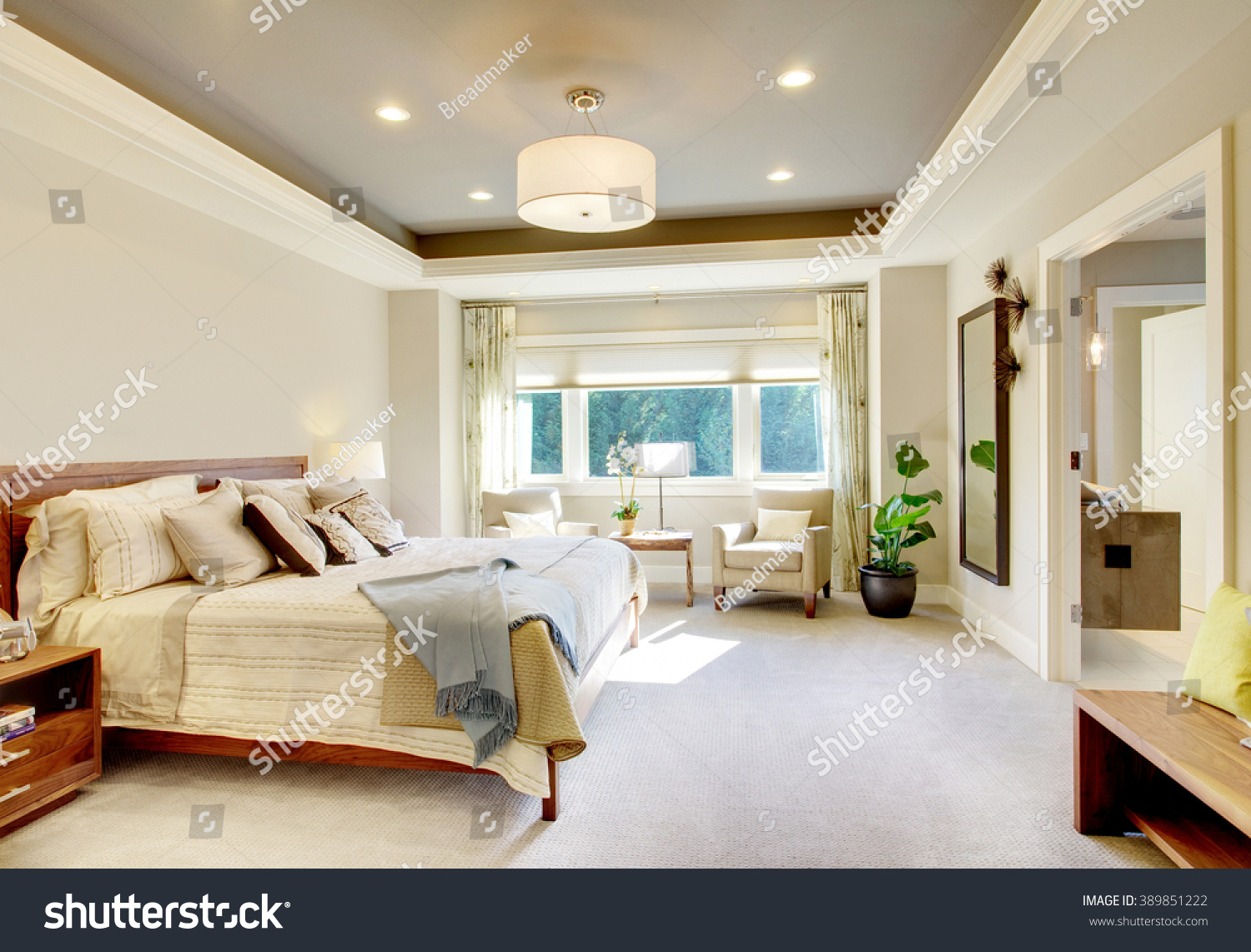 Beautiful Bedroom Interior New Luxury Home Stock Photo 389851222