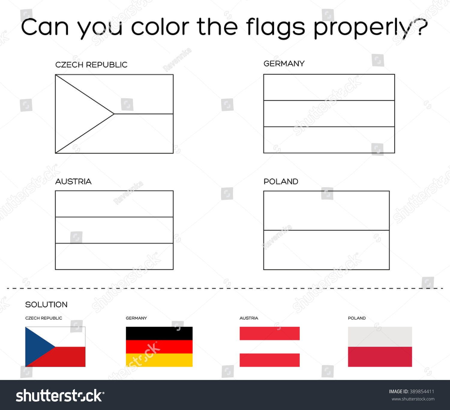 coloring book task european flags solution stock vector 389854411