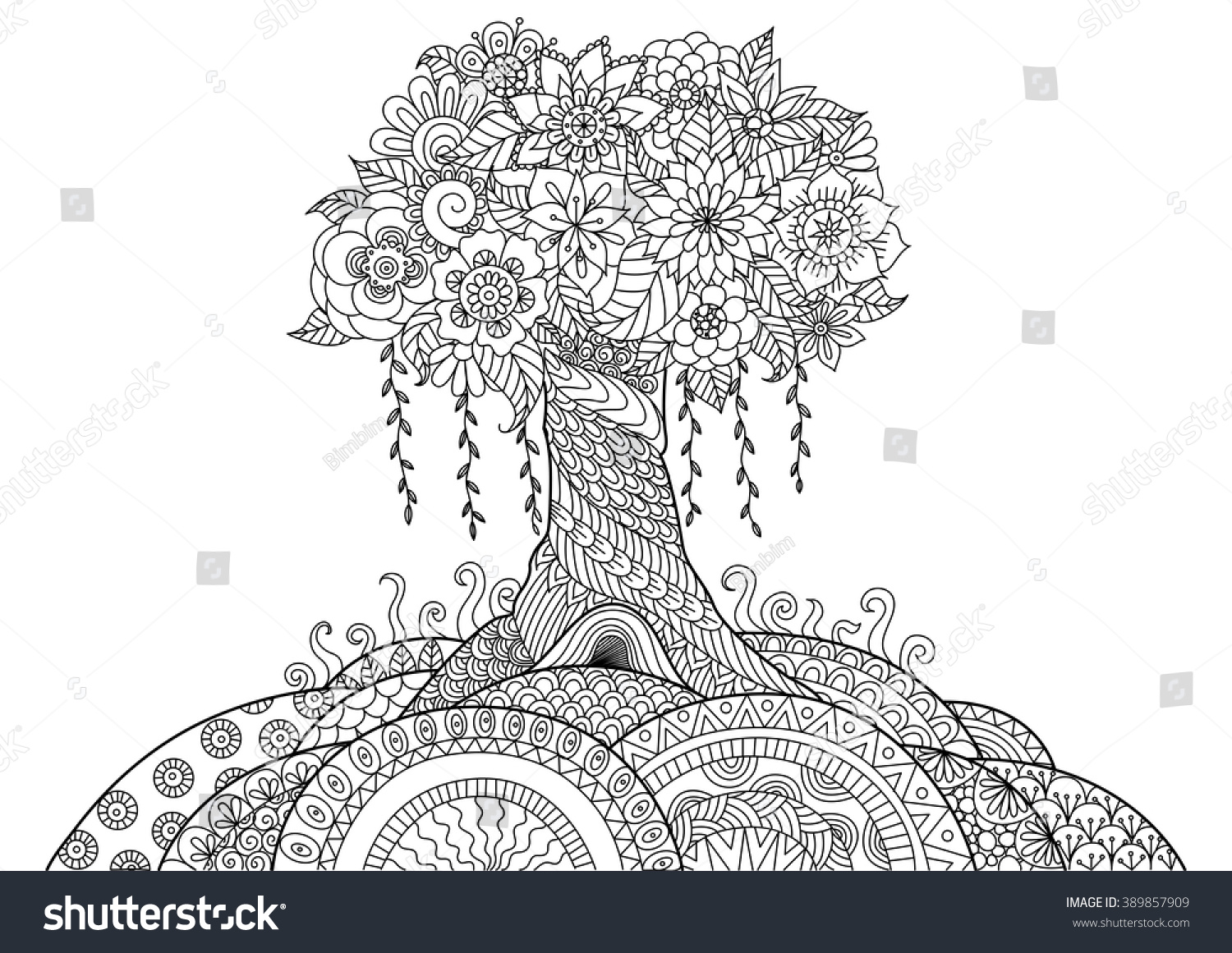 Tree Line Art Design : Abstract tree on hill line art stock vector