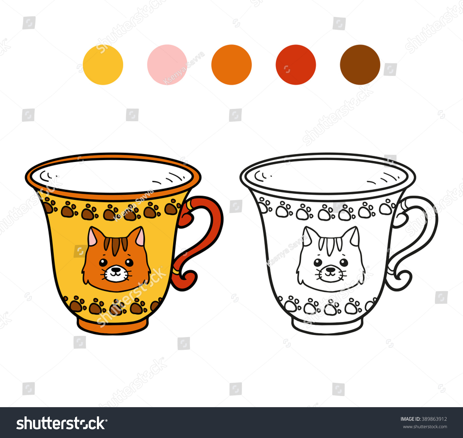 Coloring Book Coloring Page Children Cup Stock Vector 389863912 ...