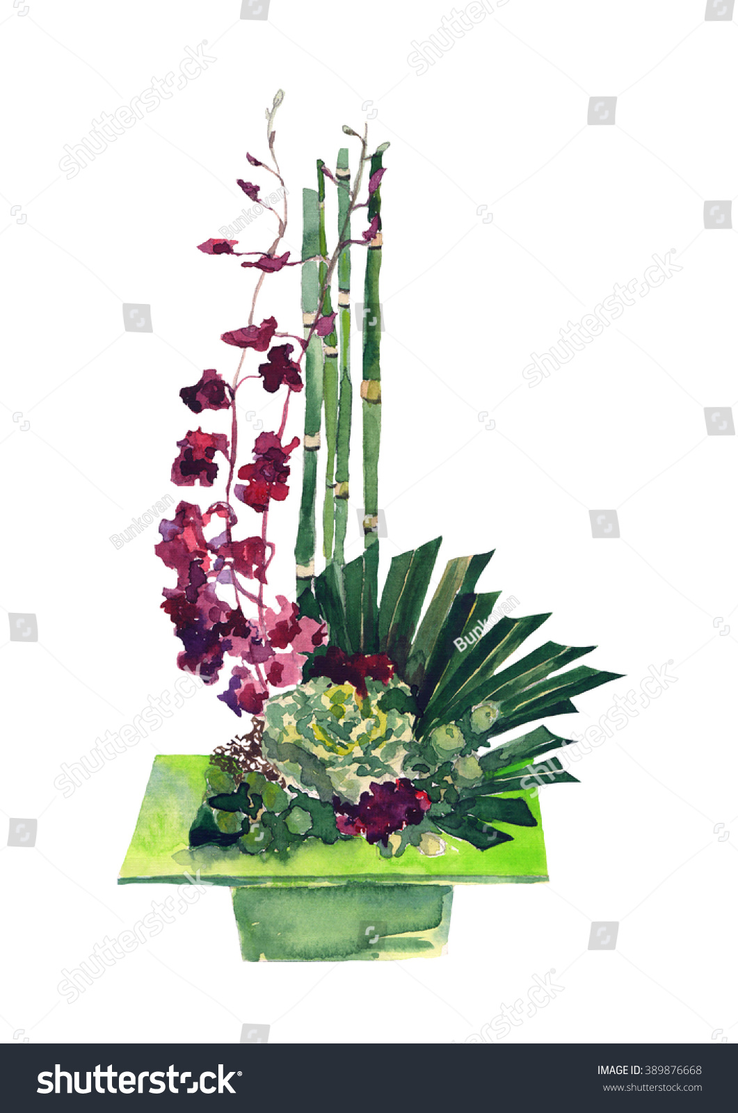 Beautiful Tropical Flower Bouquet Isolated On Stock Illustration ...